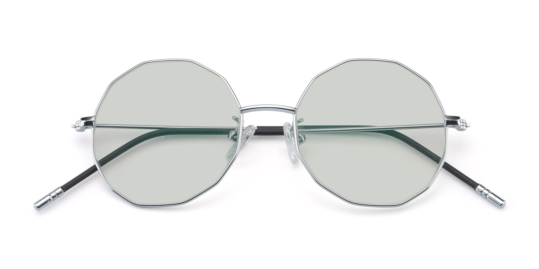 Folded Front of Dreamer in Silver with Light Green Tinted Lenses