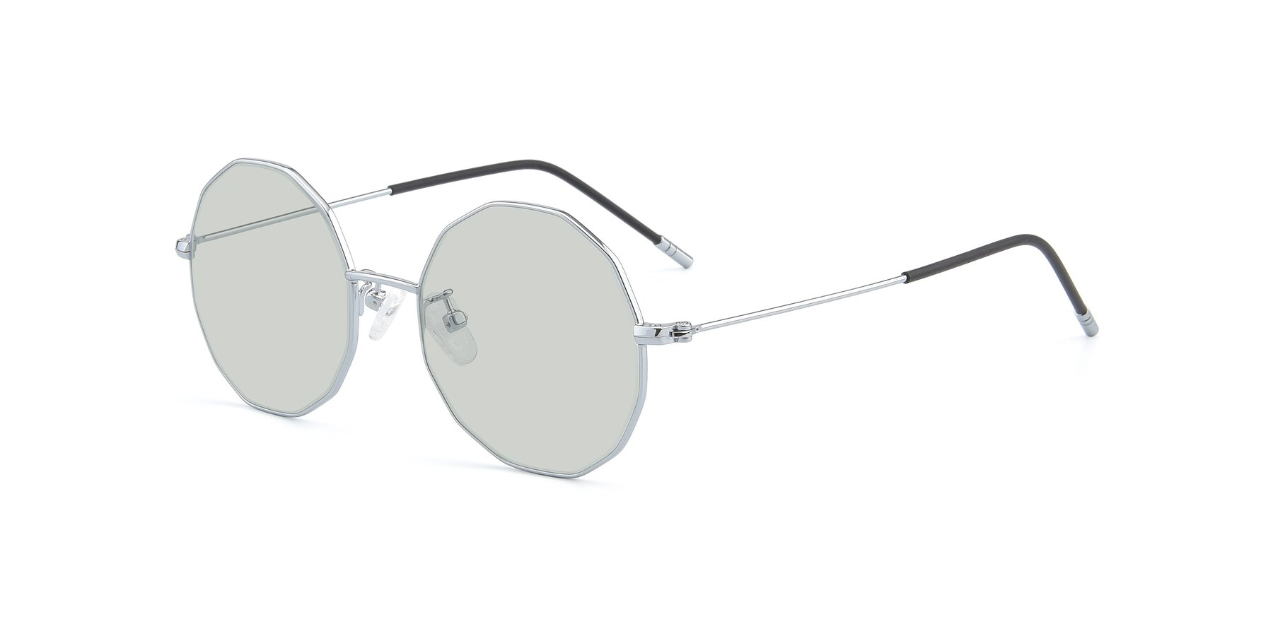 Angle of Dreamer in Silver with Light Green Tinted Lenses