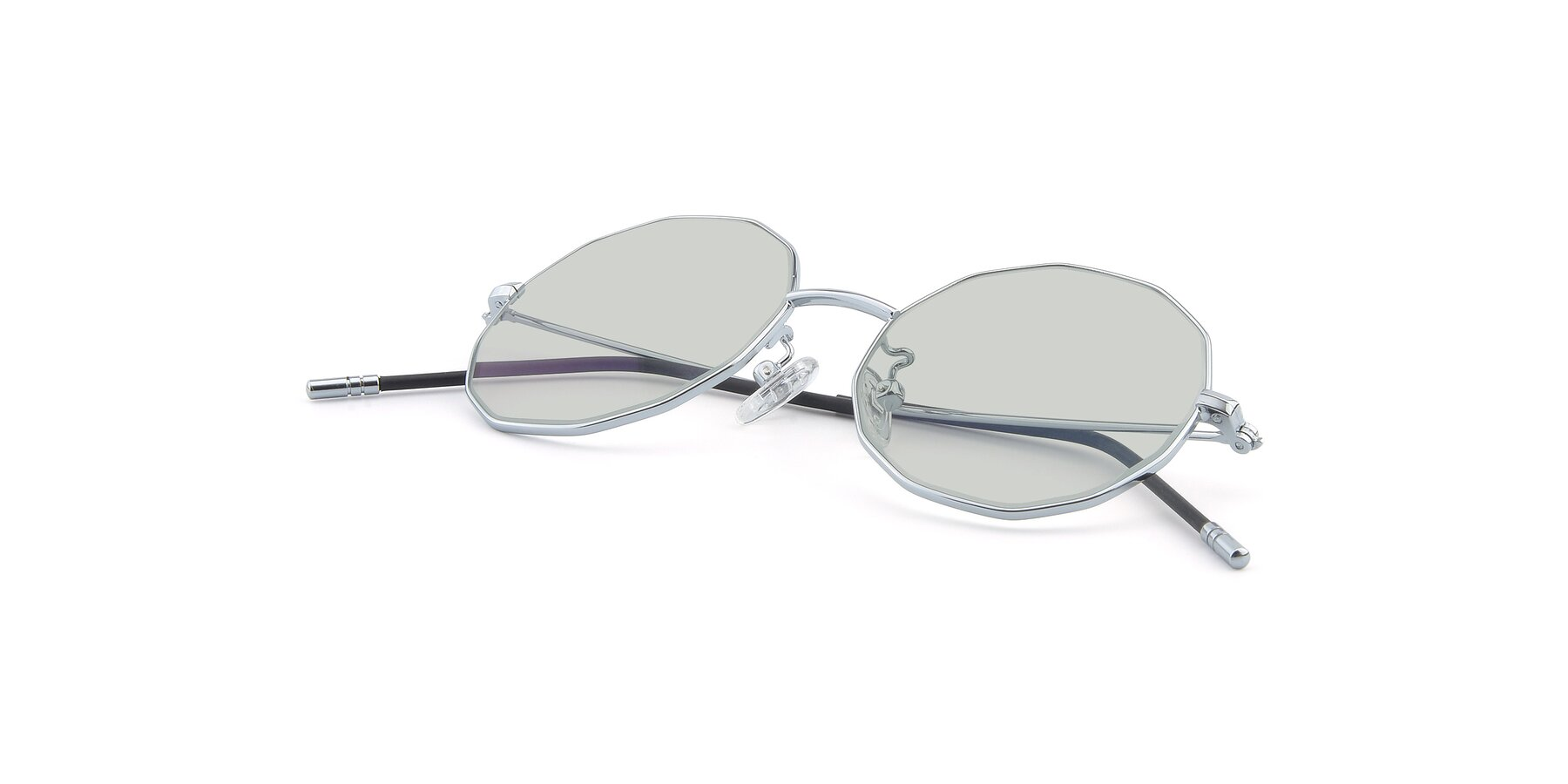 View of Dreamer in Silver with Light Green Tinted Lenses