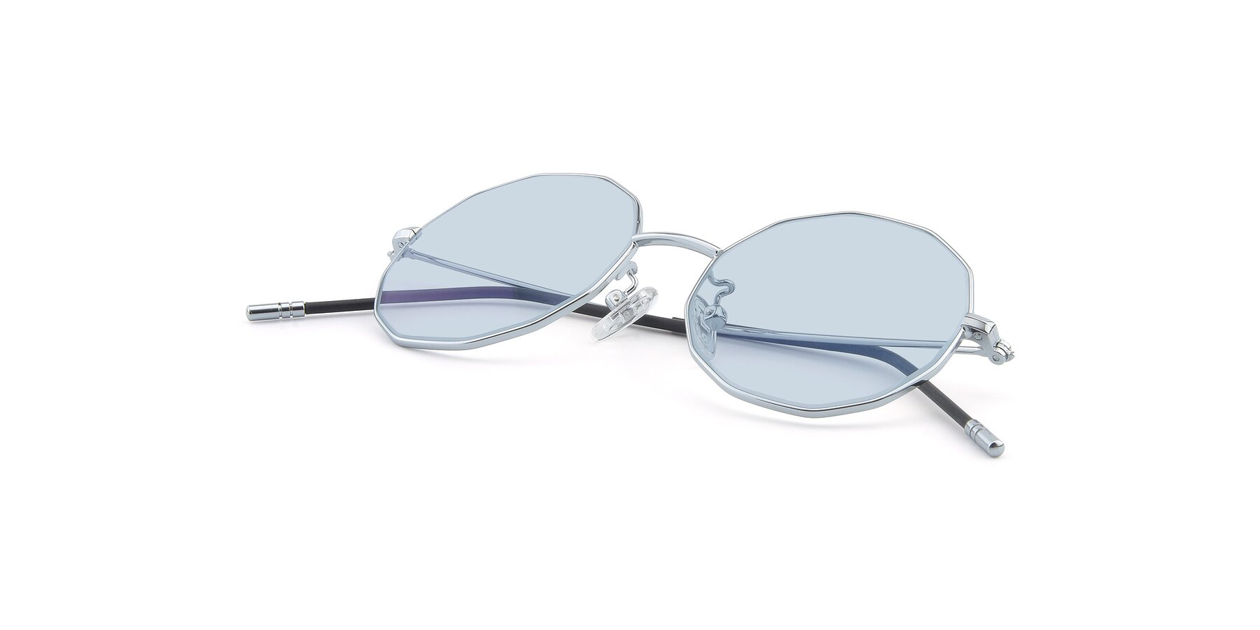 View of Dreamer in Silver with Light Blue Tinted Lenses