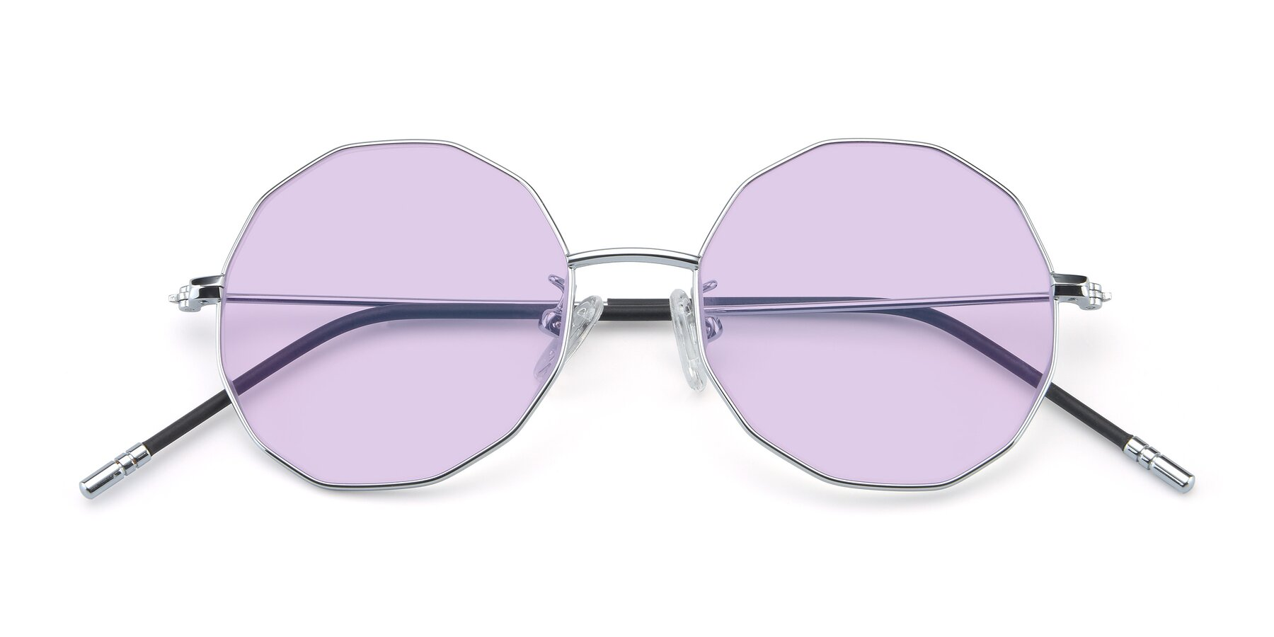 Folded Front of Dreamer in Silver with Light Purple Tinted Lenses