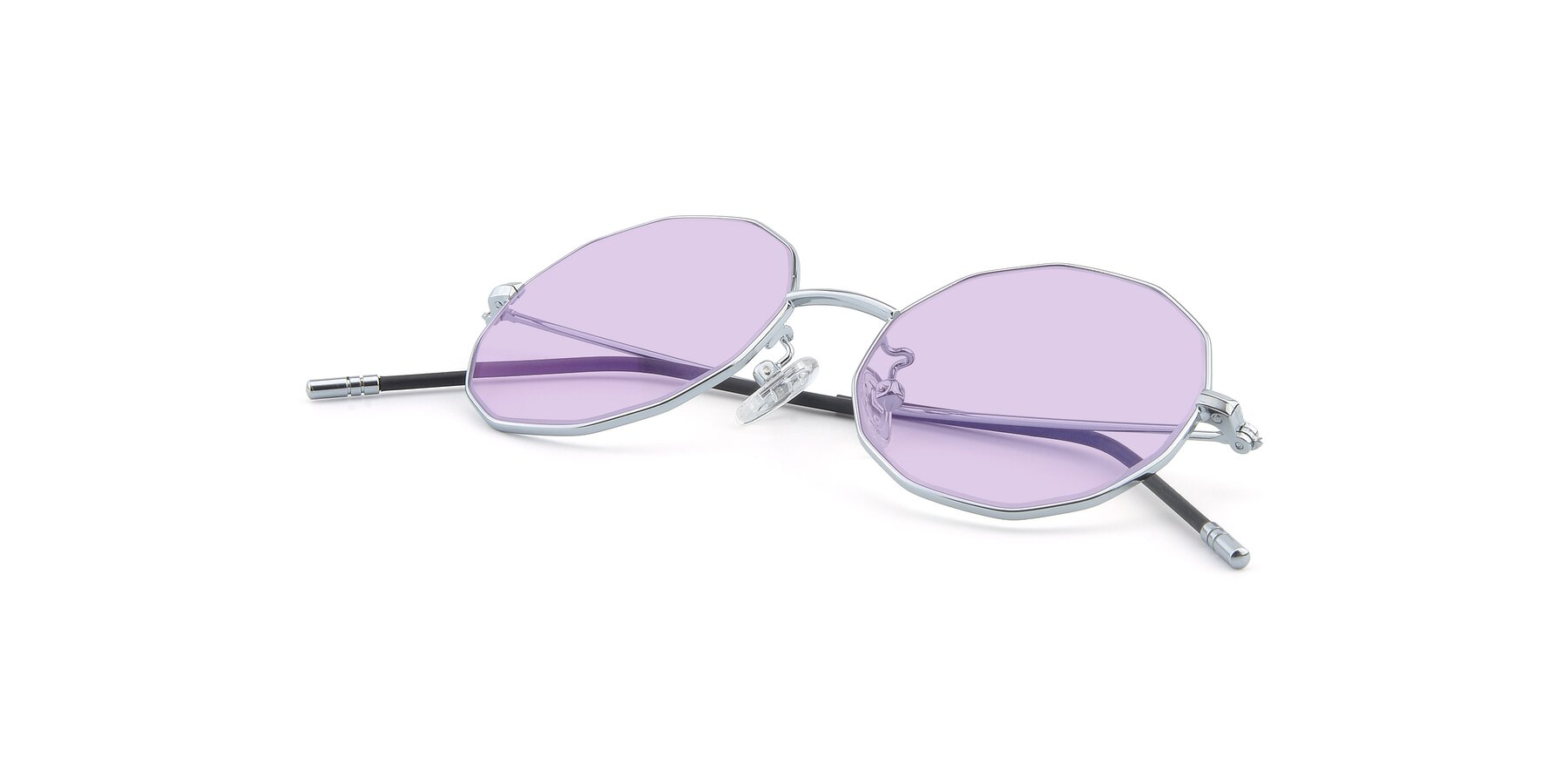 View of Dreamer in Silver with Light Purple Tinted Lenses
