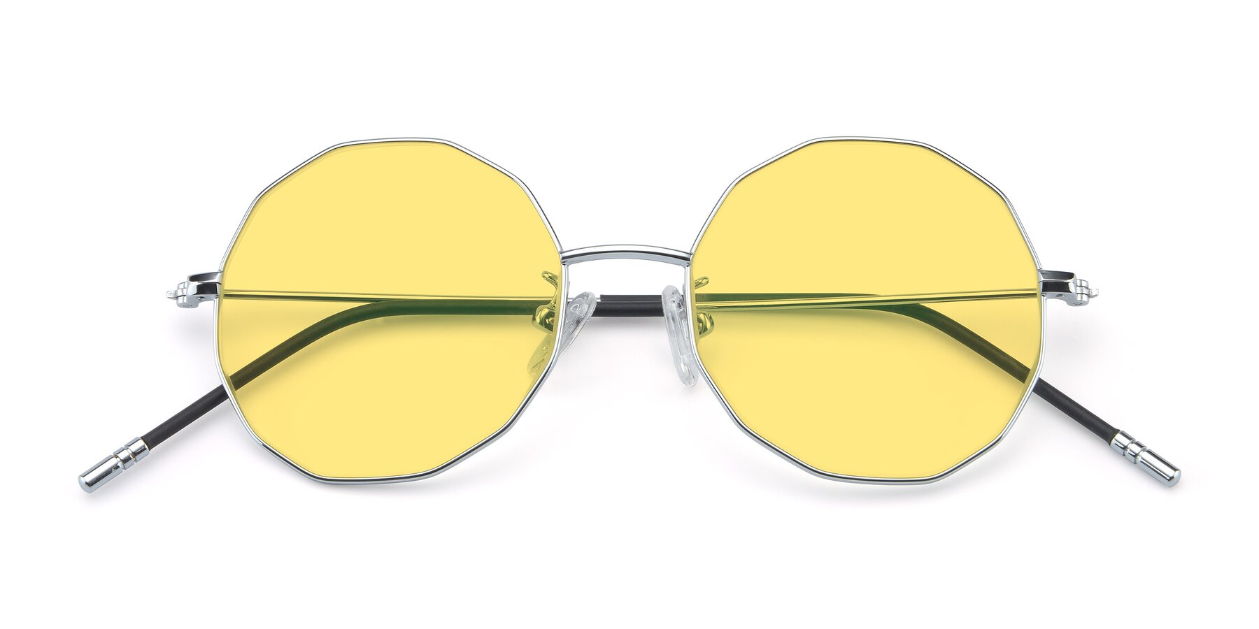 Folded Front of Dreamer in Silver with Medium Yellow Tinted Lenses