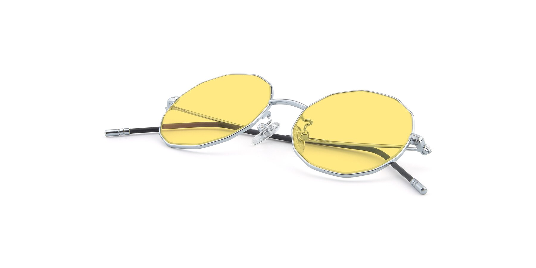 View of Dreamer in Silver with Medium Yellow Tinted Lenses