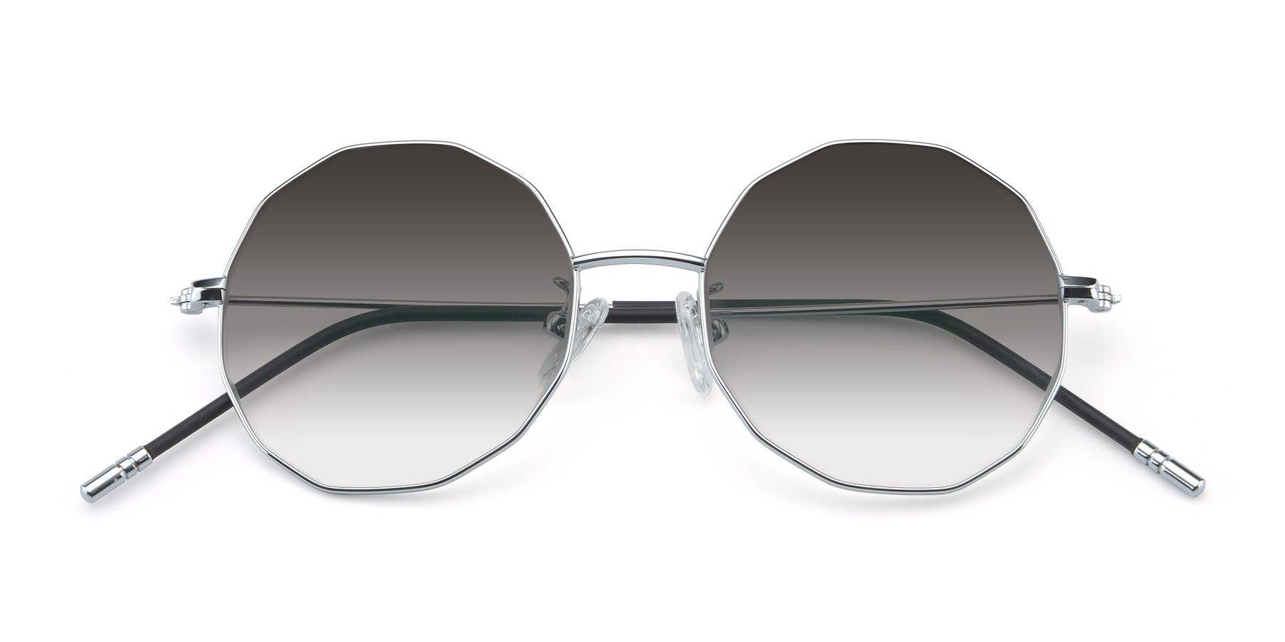 Folded Front of Dreamer in Silver with Gray Gradient Lenses