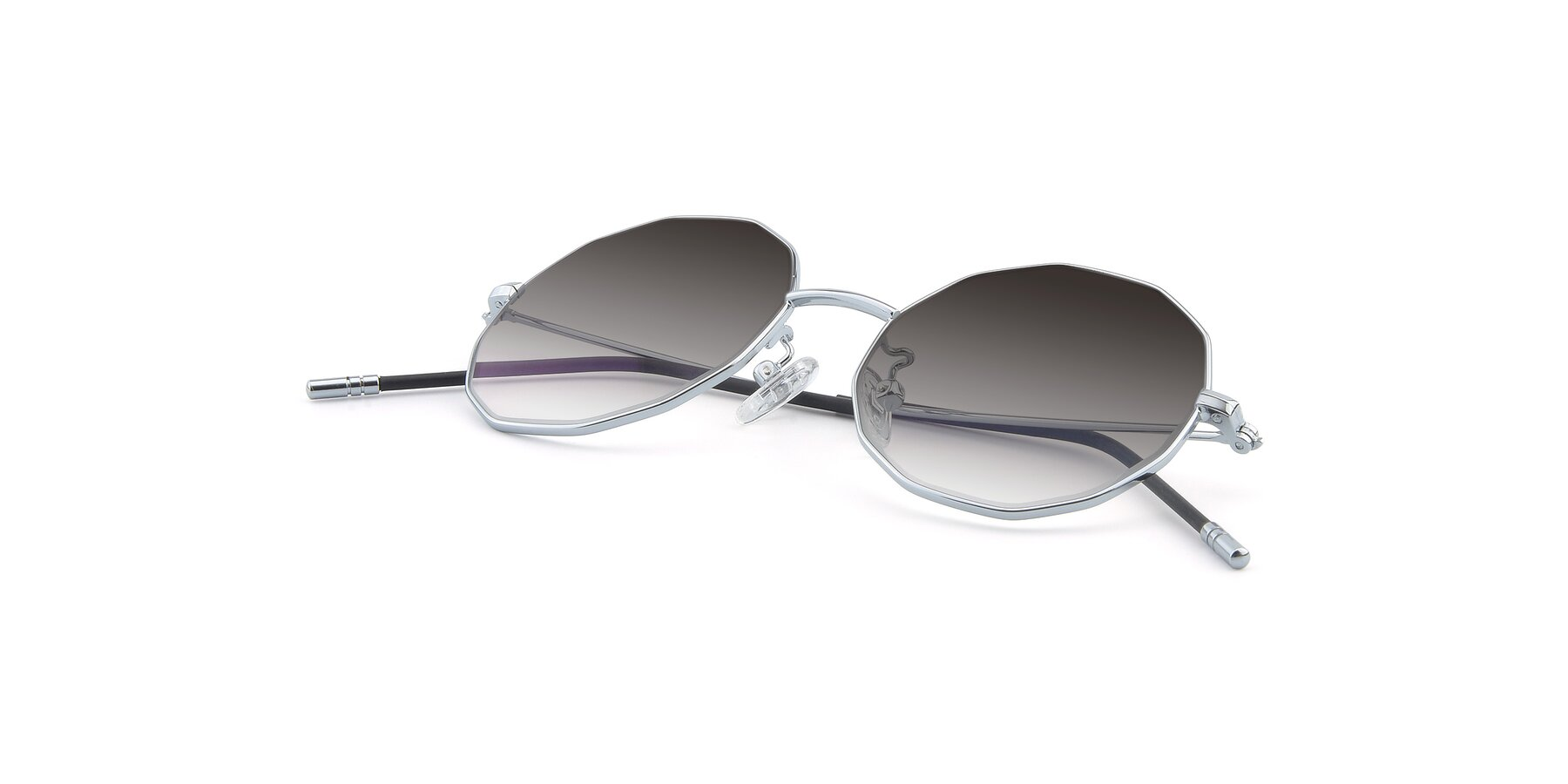 View of Dreamer in Silver with Gray Gradient Lenses