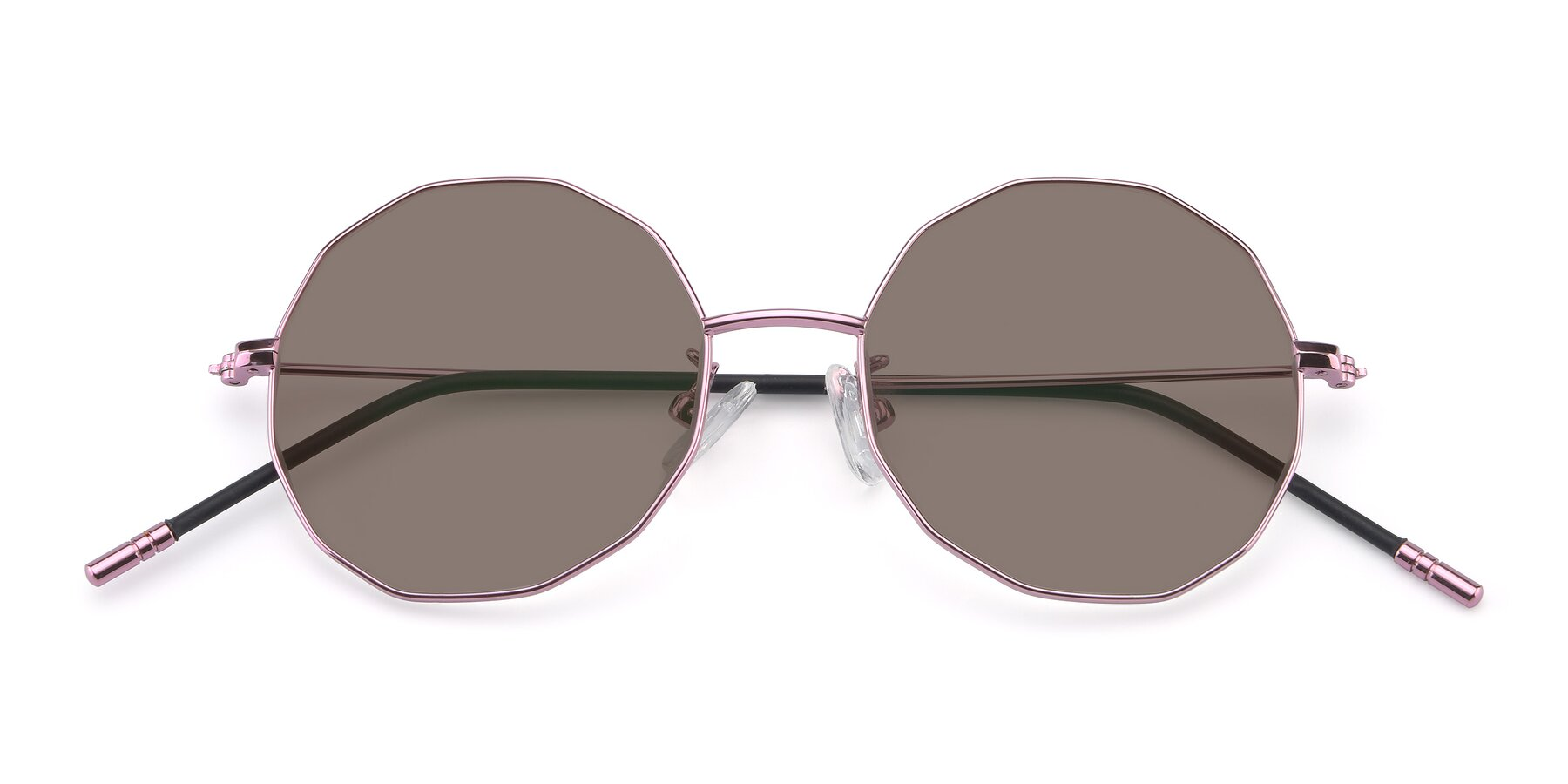 Folded Front of Dreamer in Pink with Medium Brown Tinted Lenses