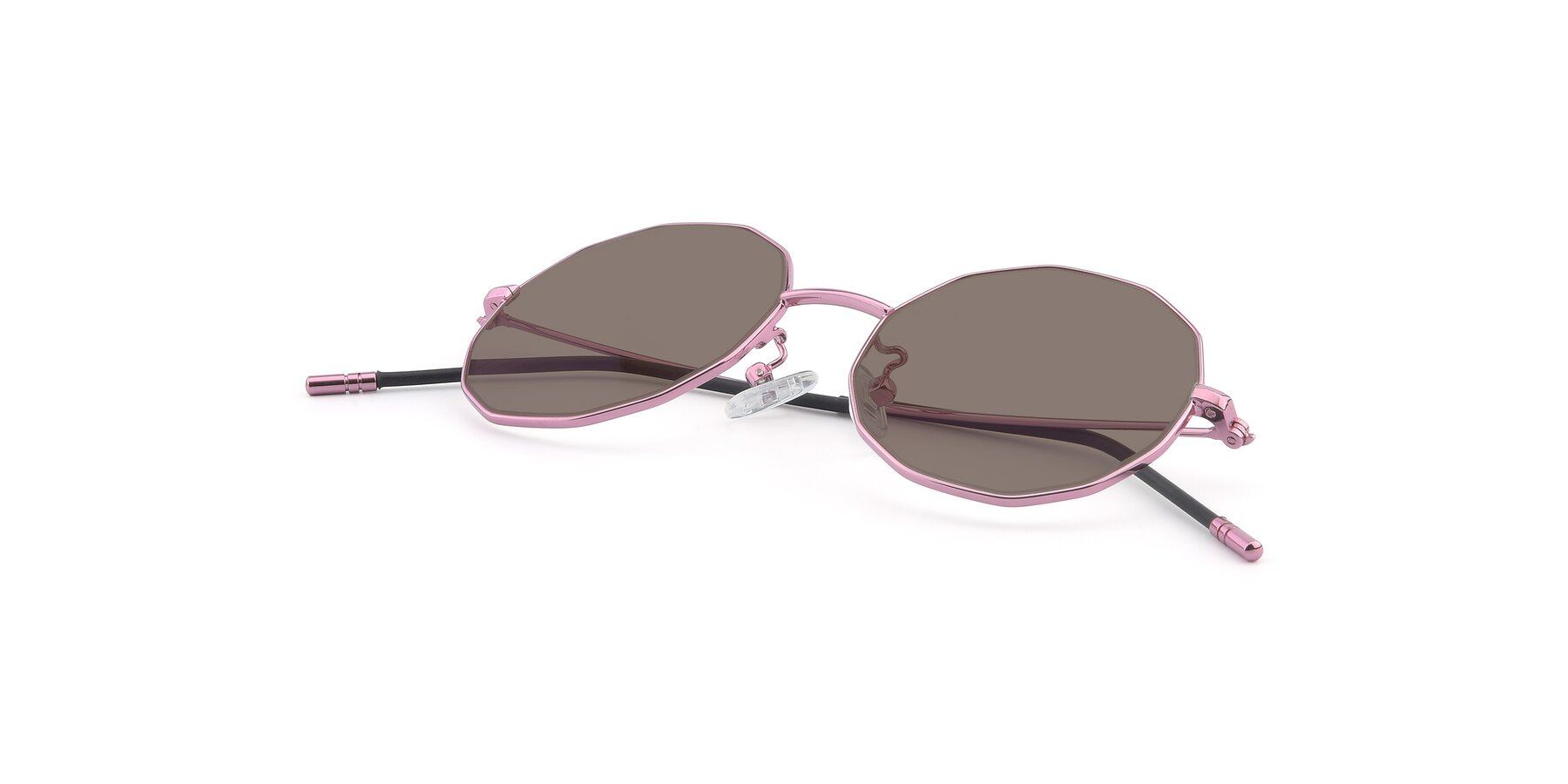 View of Dreamer in Pink with Medium Brown Tinted Lenses