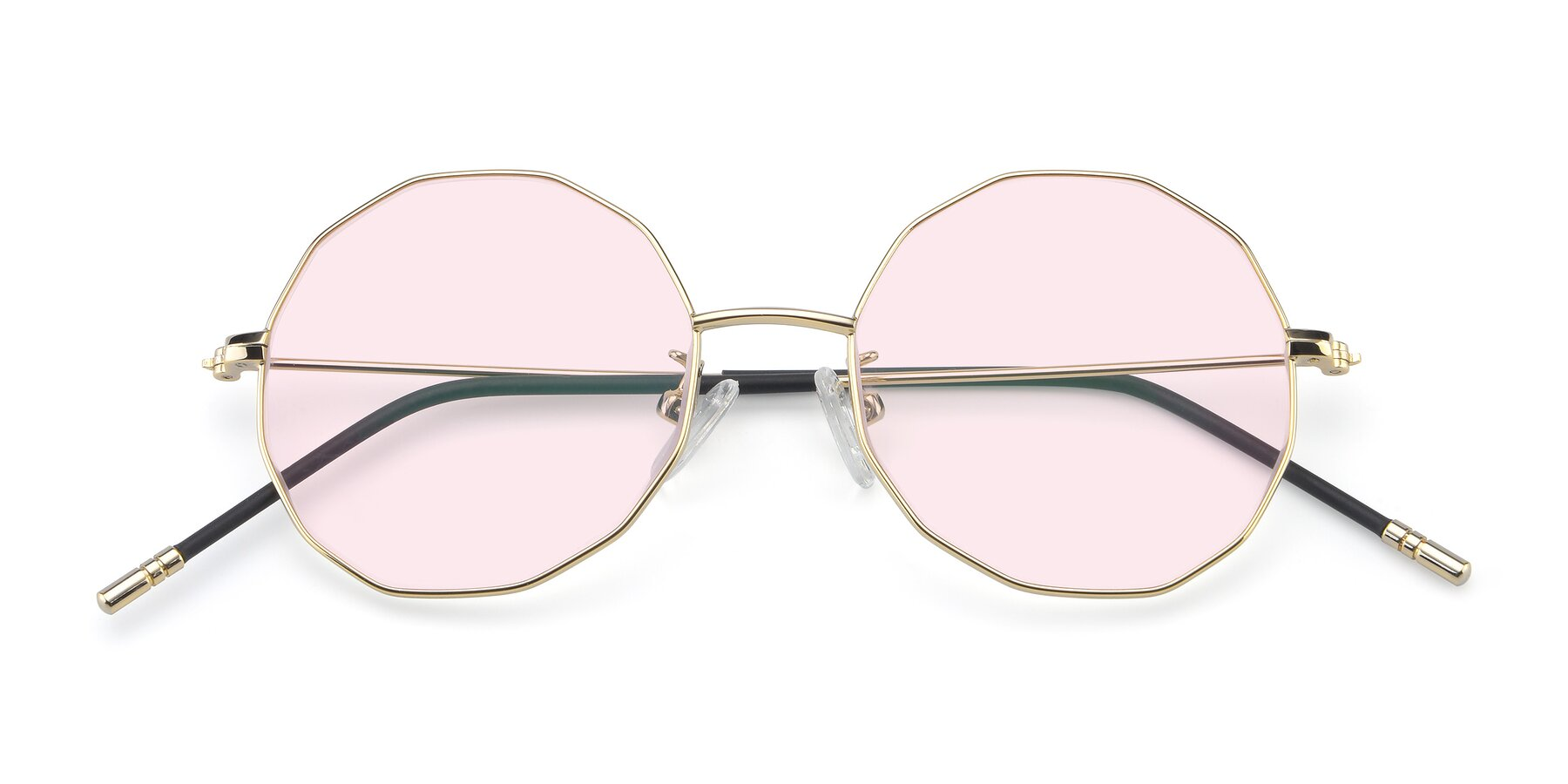 Folded Front of Dreamer in Gold with Light Pink Tinted Lenses