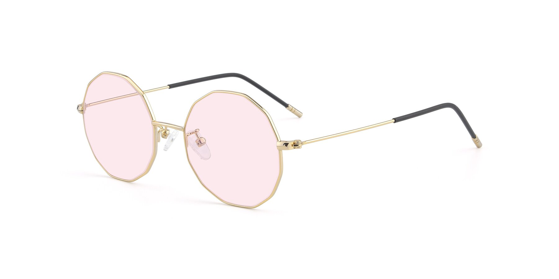 Angle of Dreamer in Gold with Light Pink Tinted Lenses