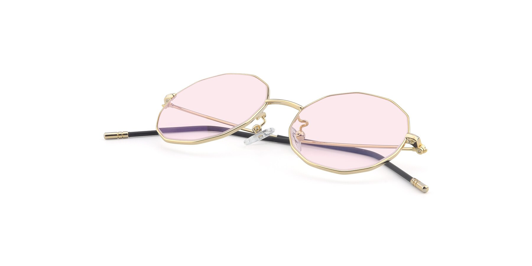 View of Dreamer in Gold with Light Pink Tinted Lenses
