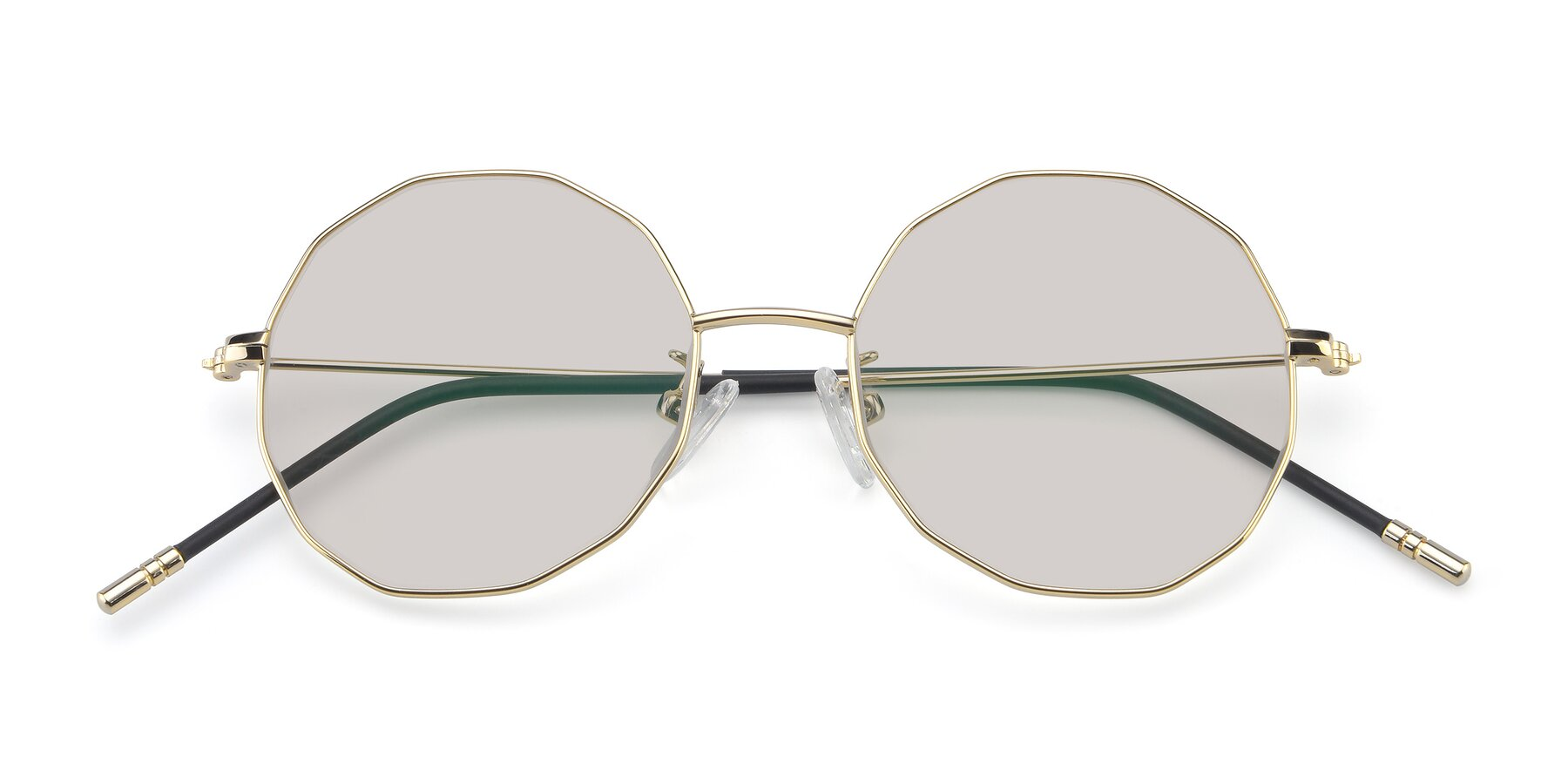 Folded Front of Dreamer in Gold with Light Brown Tinted Lenses