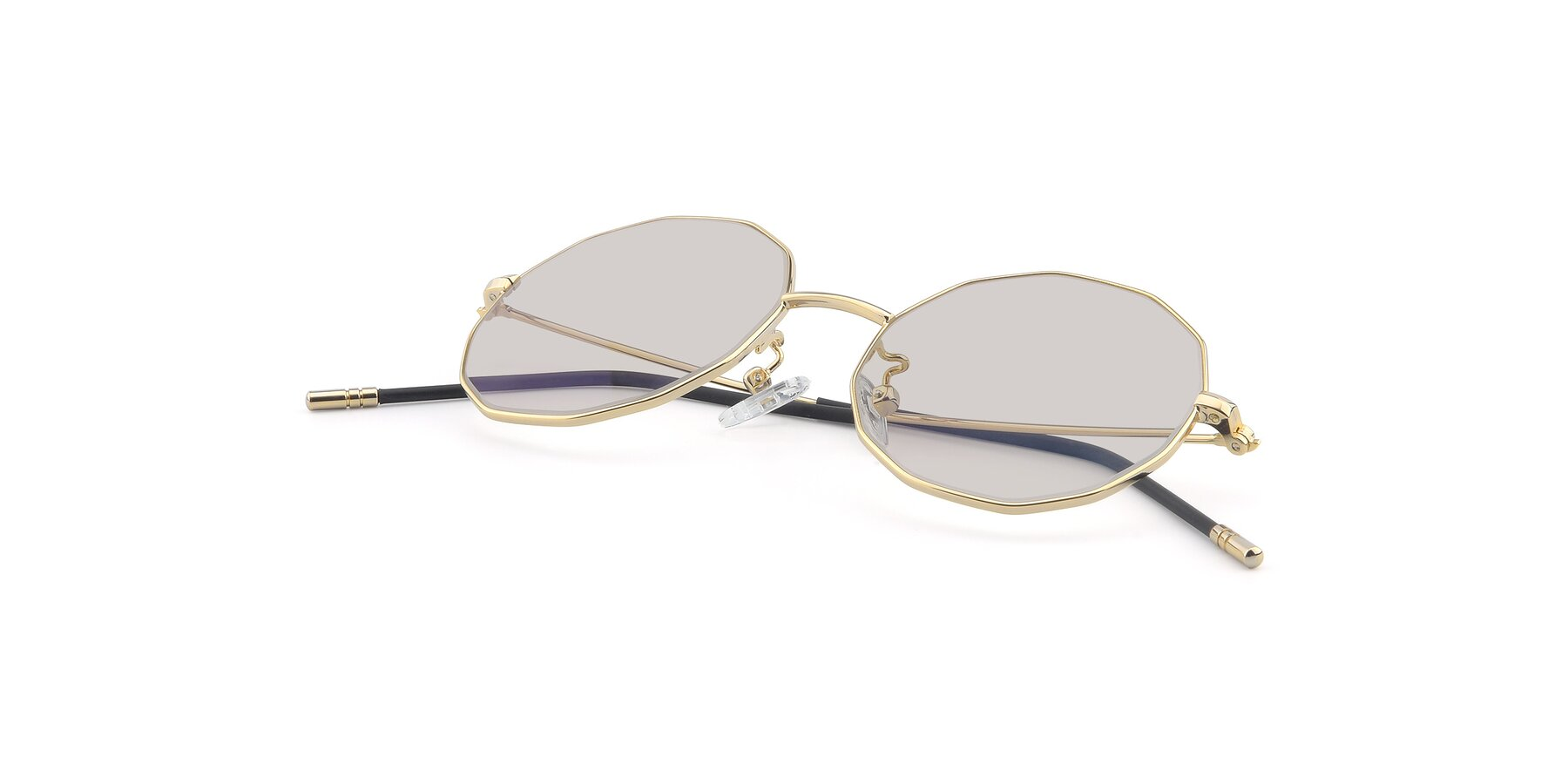 View of Dreamer in Gold with Light Brown Tinted Lenses