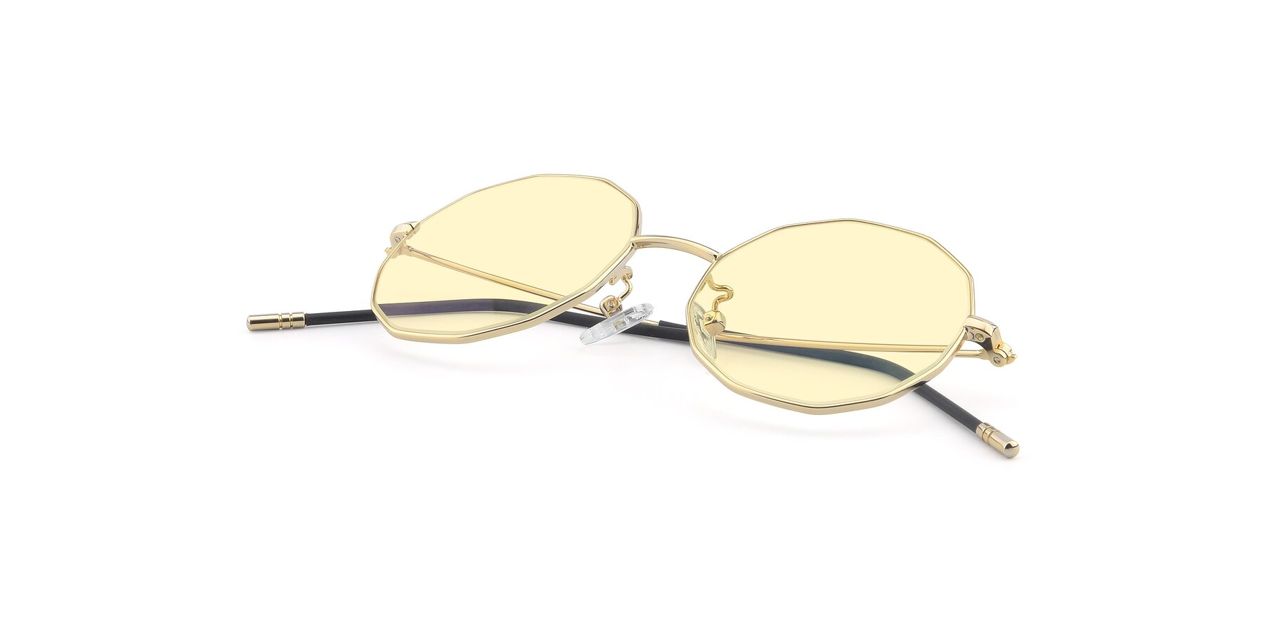 View of Dreamer in Gold with Light Yellow Tinted Lenses