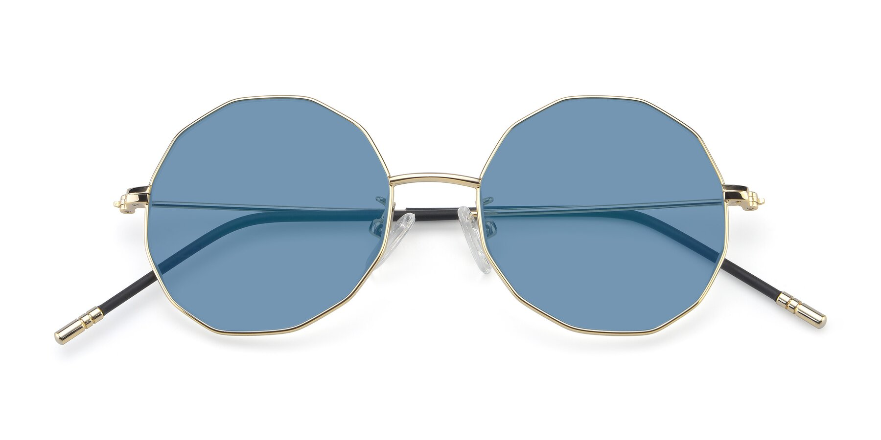 Folded Front of Dreamer in Gold with Medium Blue Tinted Lenses