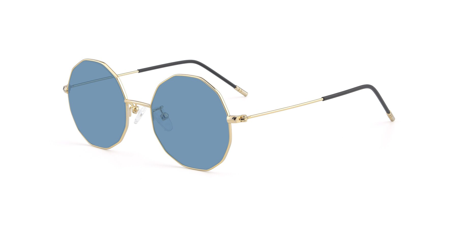 Angle of Dreamer in Gold with Medium Blue Tinted Lenses