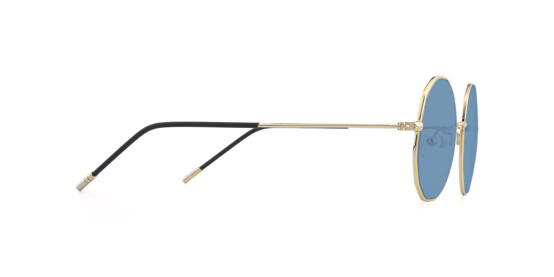 Side of Dreamer in Gold with Medium Blue Tinted Lenses