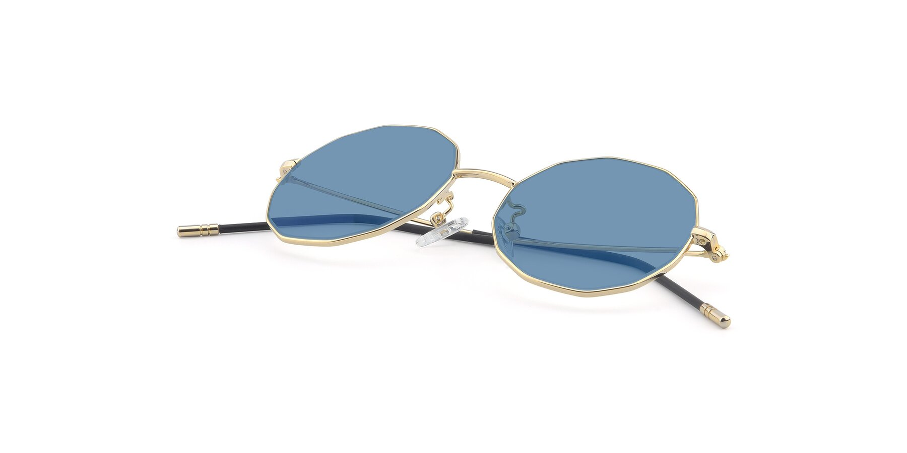 View of Dreamer in Gold with Medium Blue Tinted Lenses