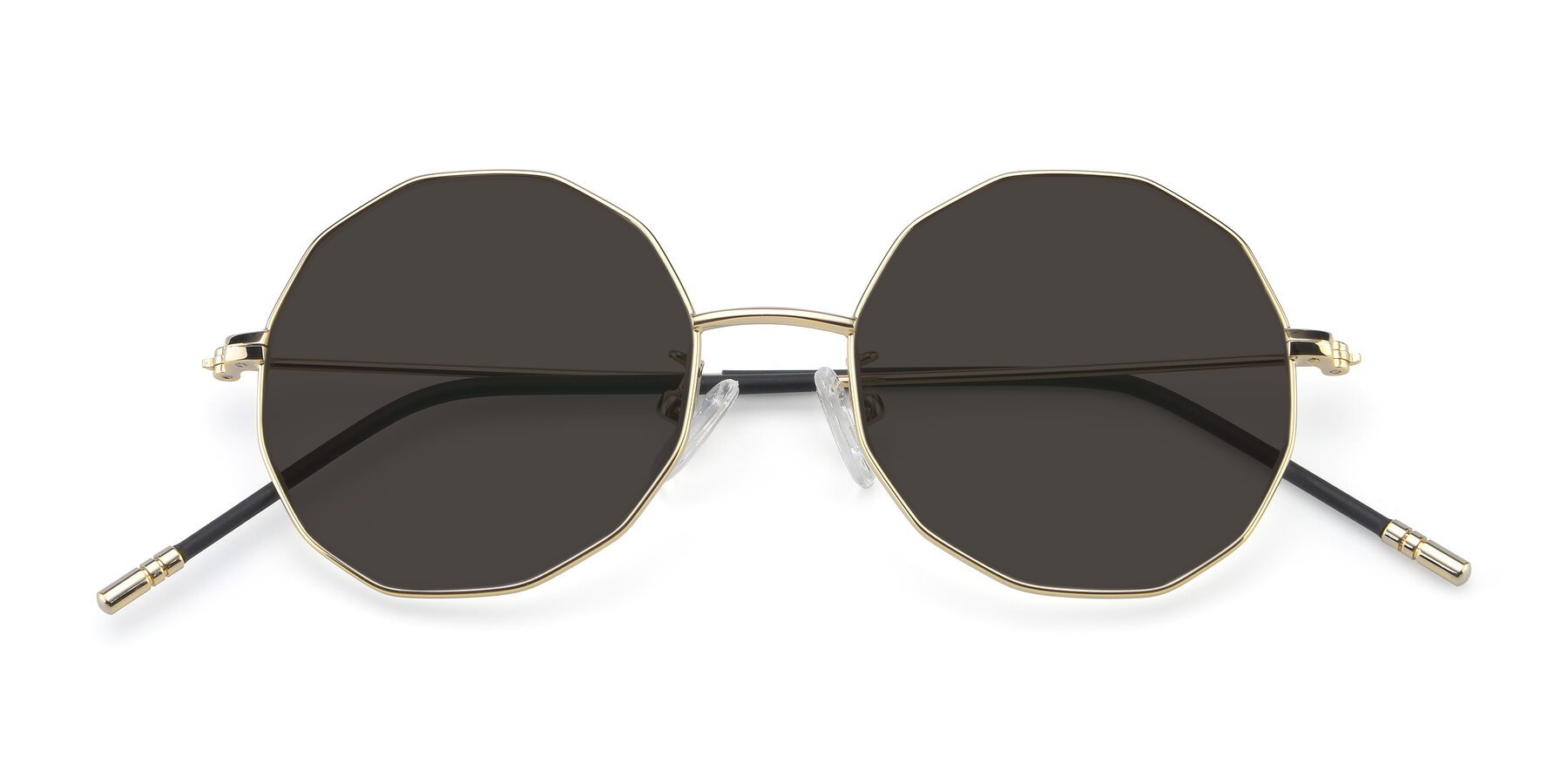 Folded Front of Dreamer in Gold with Gray Tinted Lenses