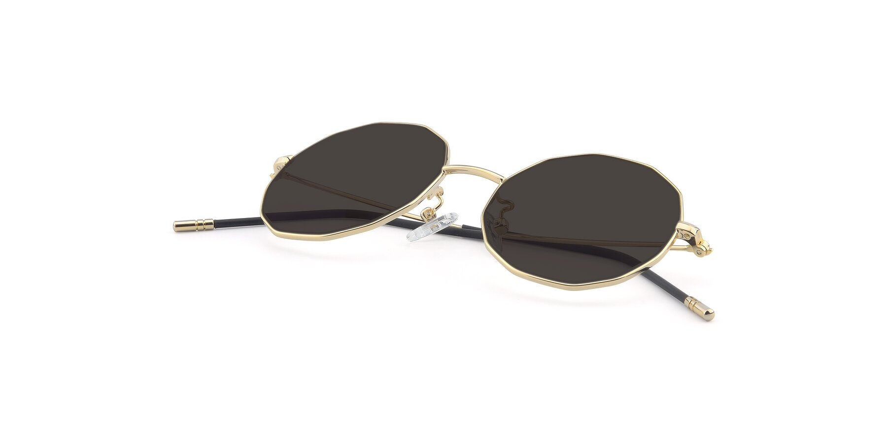 View of Dreamer in Gold with Gray Tinted Lenses