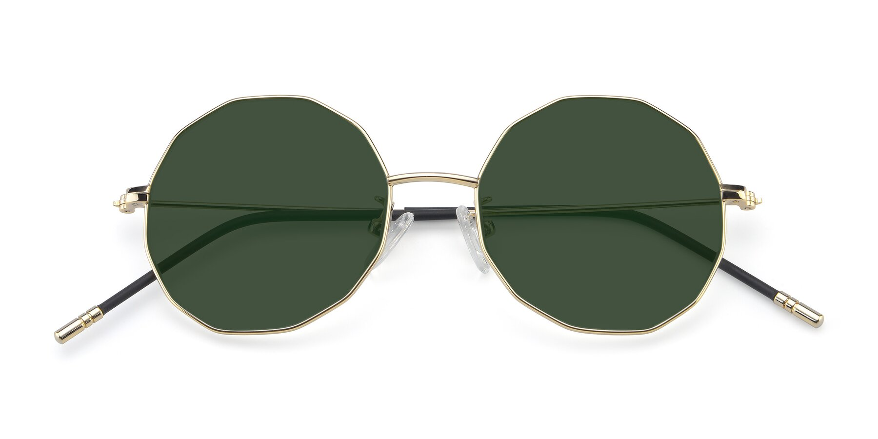 Folded Front of Dreamer in Gold with Green Tinted Lenses