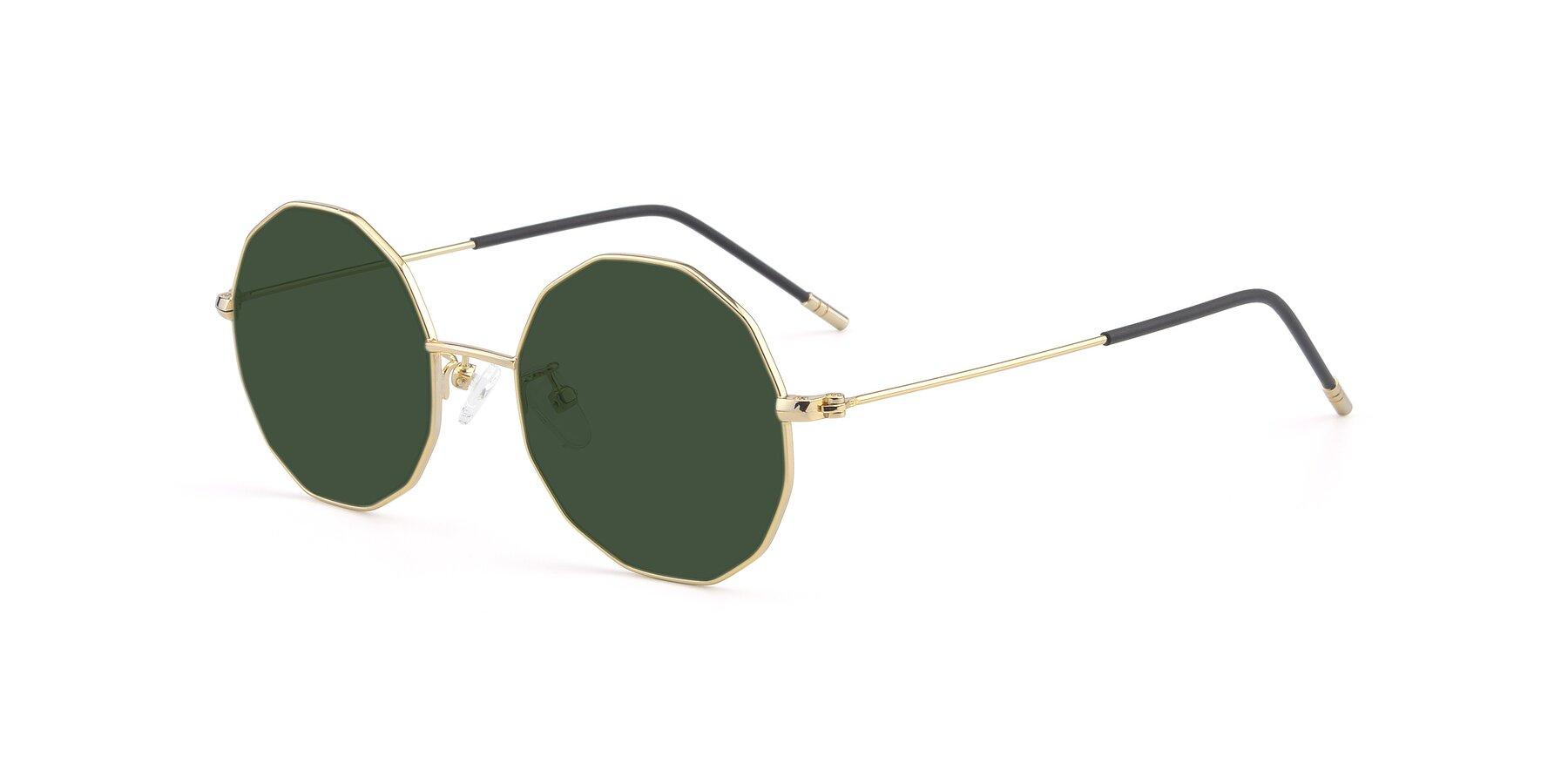 Angle of Dreamer in Gold with Green Tinted Lenses