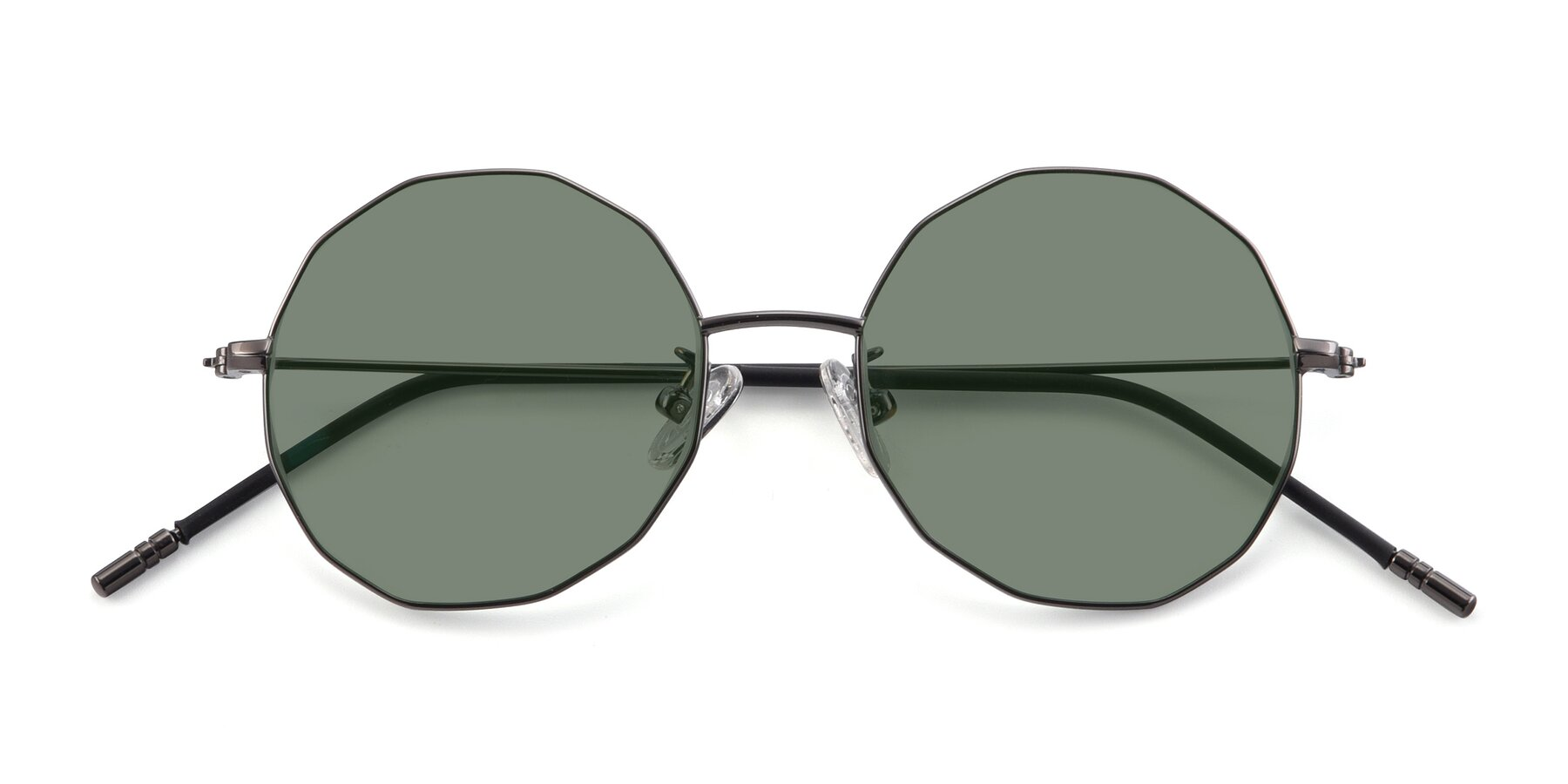 Folded Front of Dreamer in Gunmetal with Medium Green Tinted Lenses