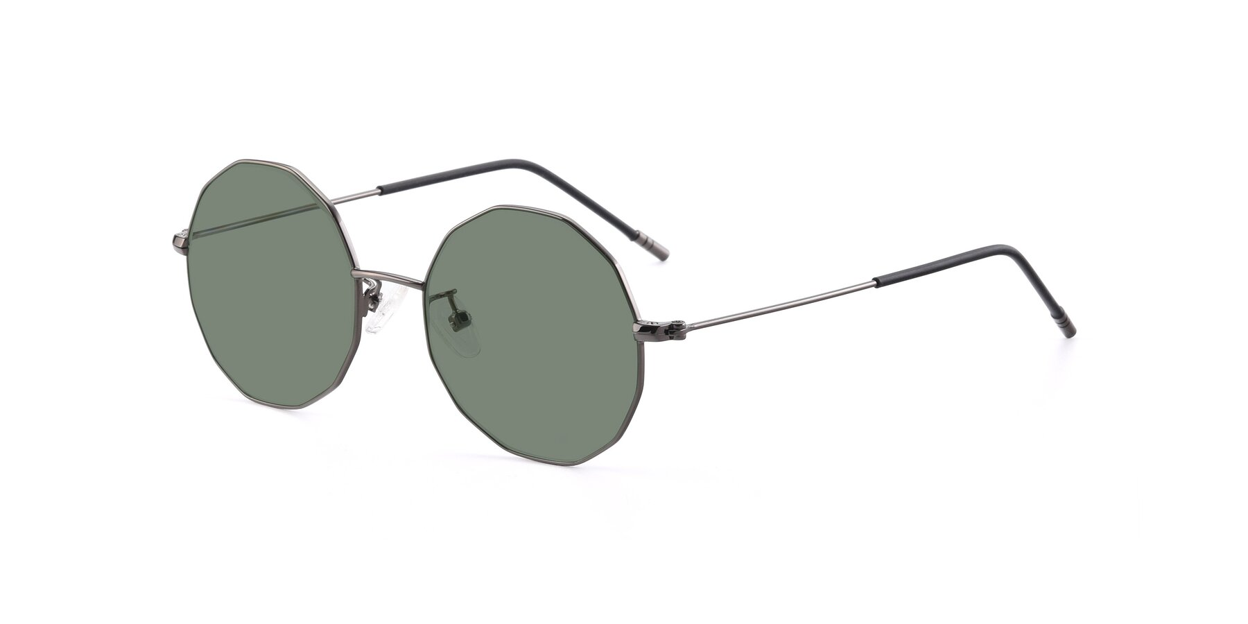 Angle of Dreamer in Gunmetal with Medium Green Tinted Lenses