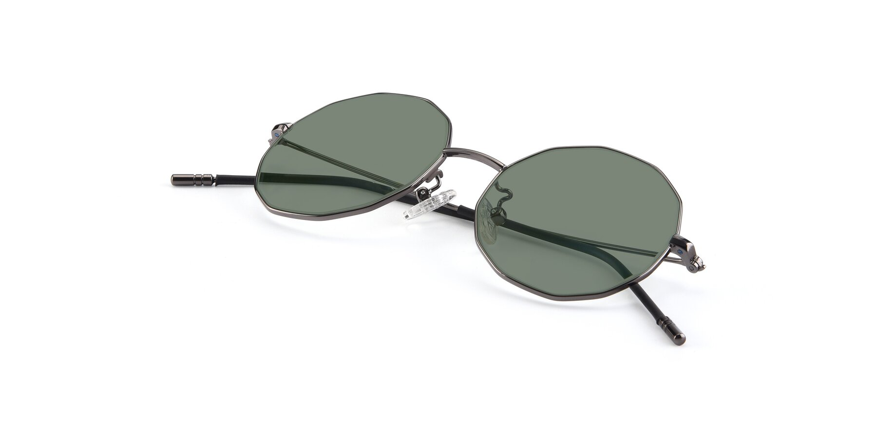 View of Dreamer in Gunmetal with Medium Green Tinted Lenses
