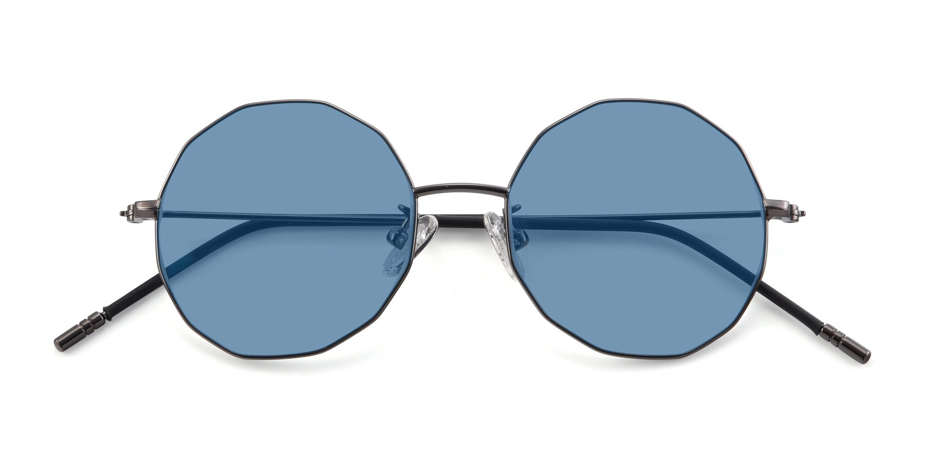 Folded Front of Dreamer in Gunmetal with Medium Blue Tinted Lenses