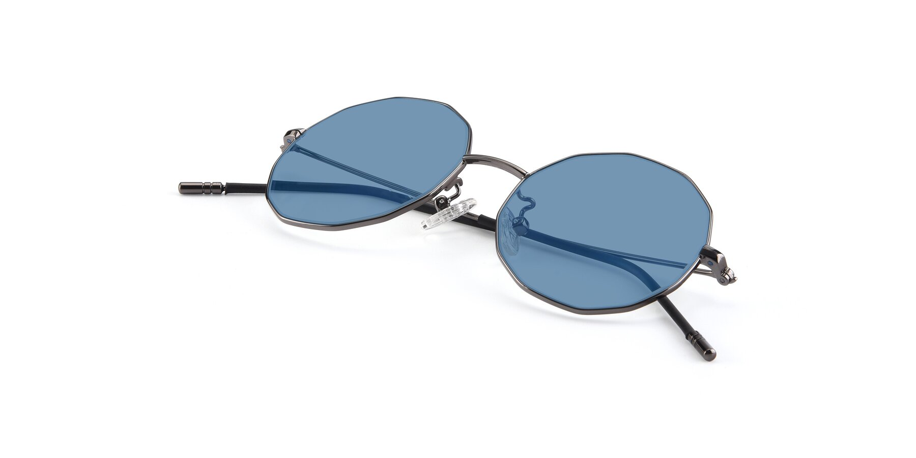 View of Dreamer in Gunmetal with Medium Blue Tinted Lenses
