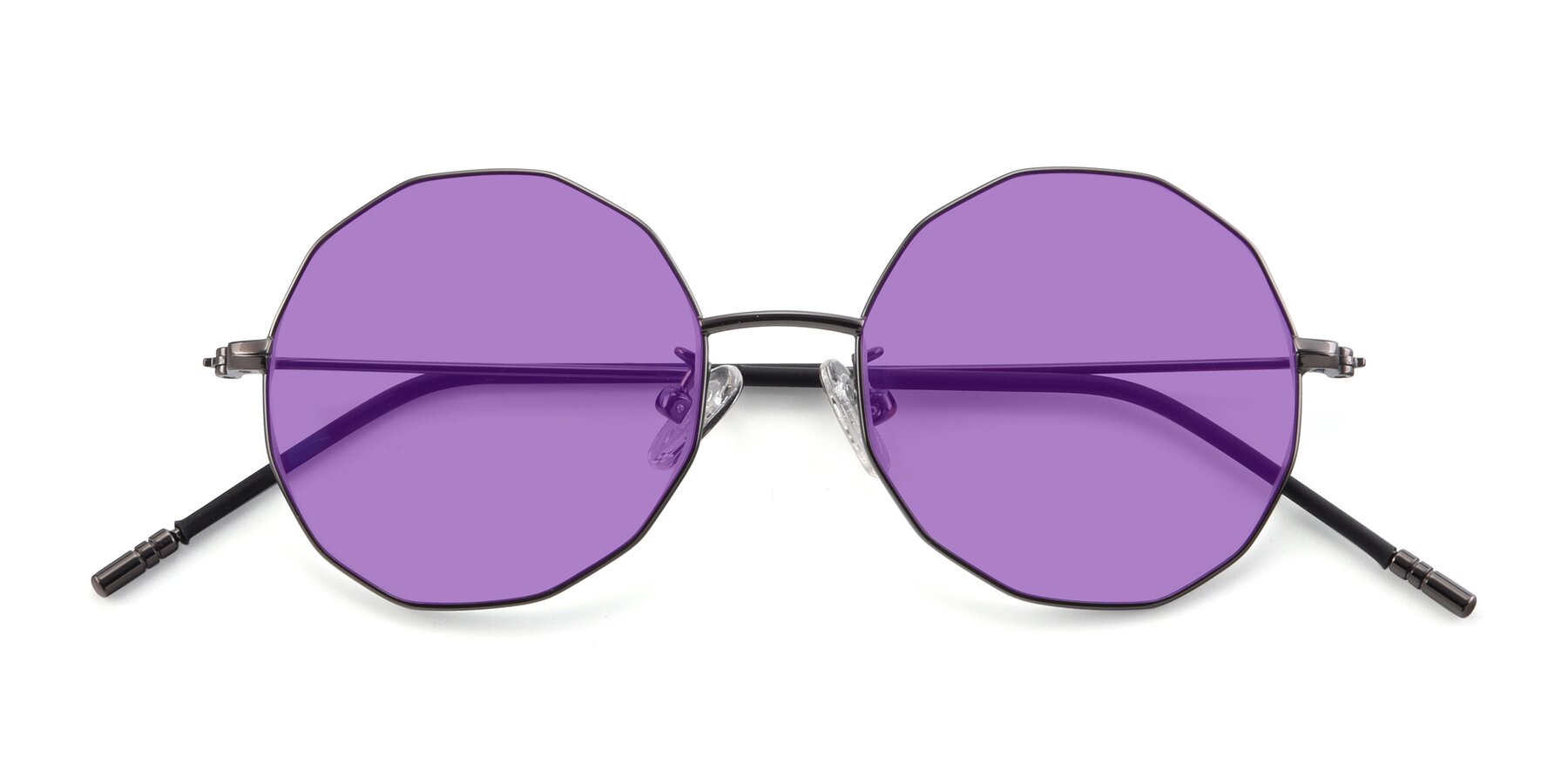 Folded Front of Dreamer in Gunmetal with Medium Purple Tinted Lenses