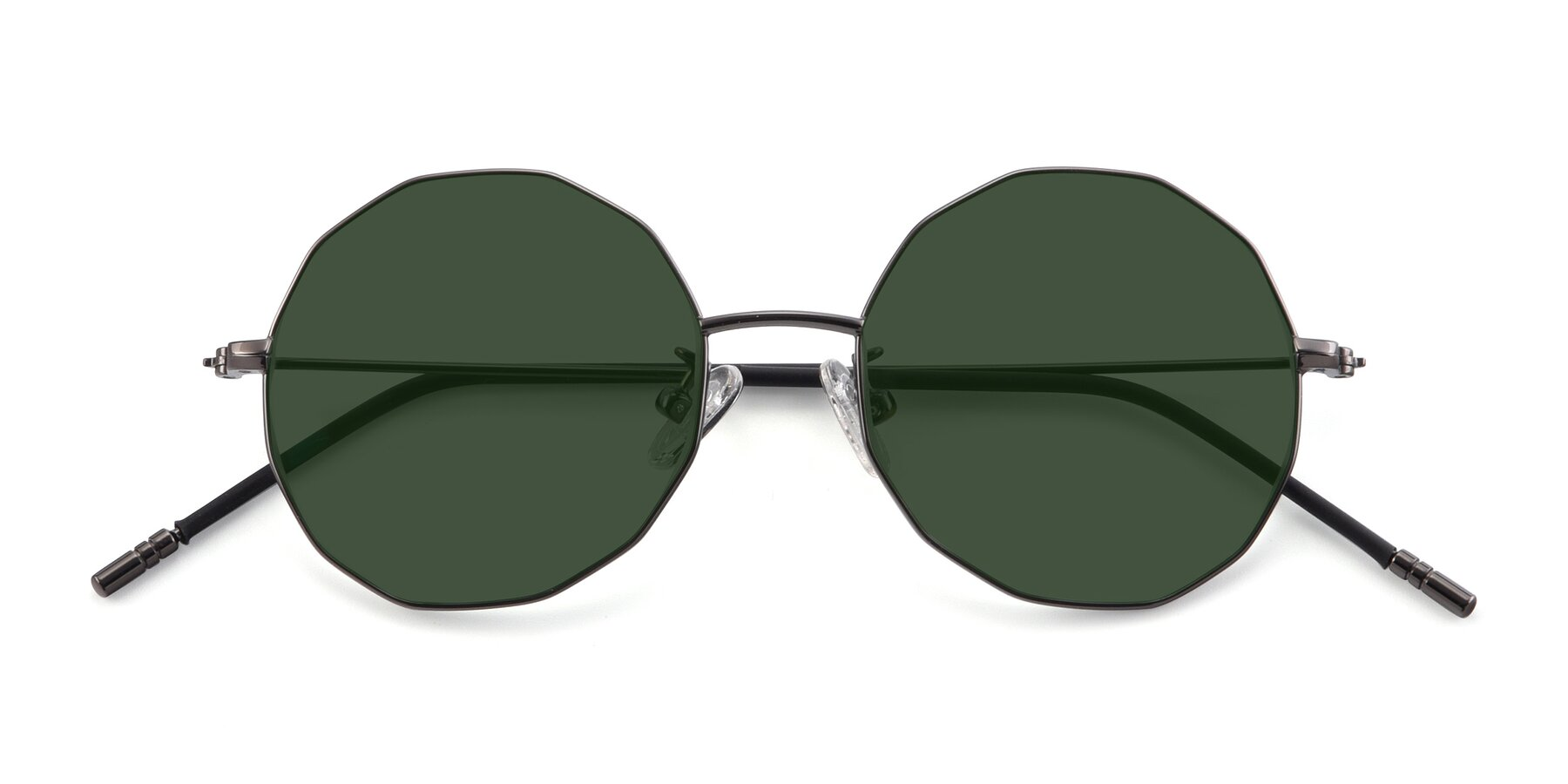 Folded Front of Dreamer in Gunmetal with Green Tinted Lenses