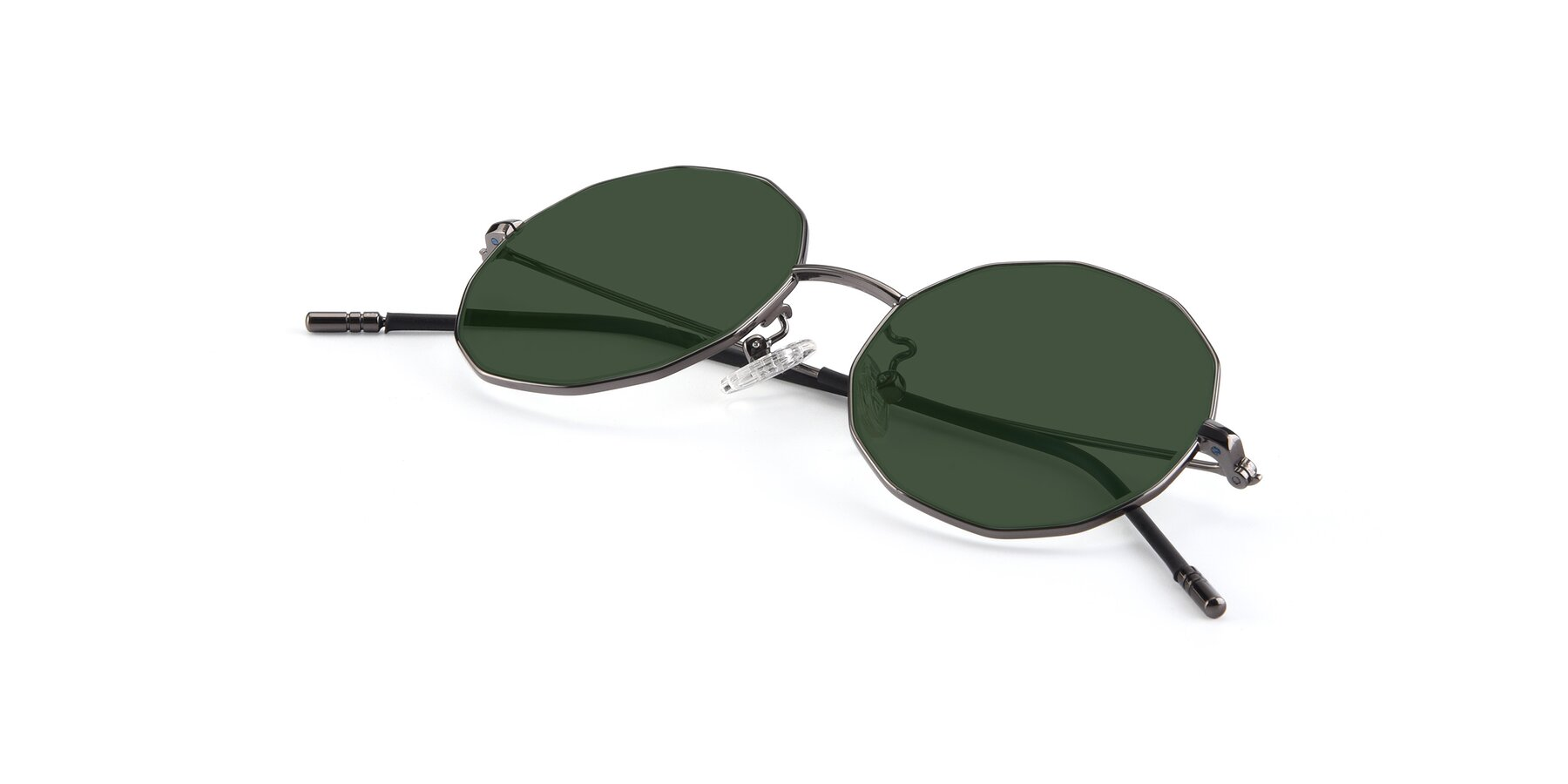 View of Dreamer in Gunmetal with Green Tinted Lenses