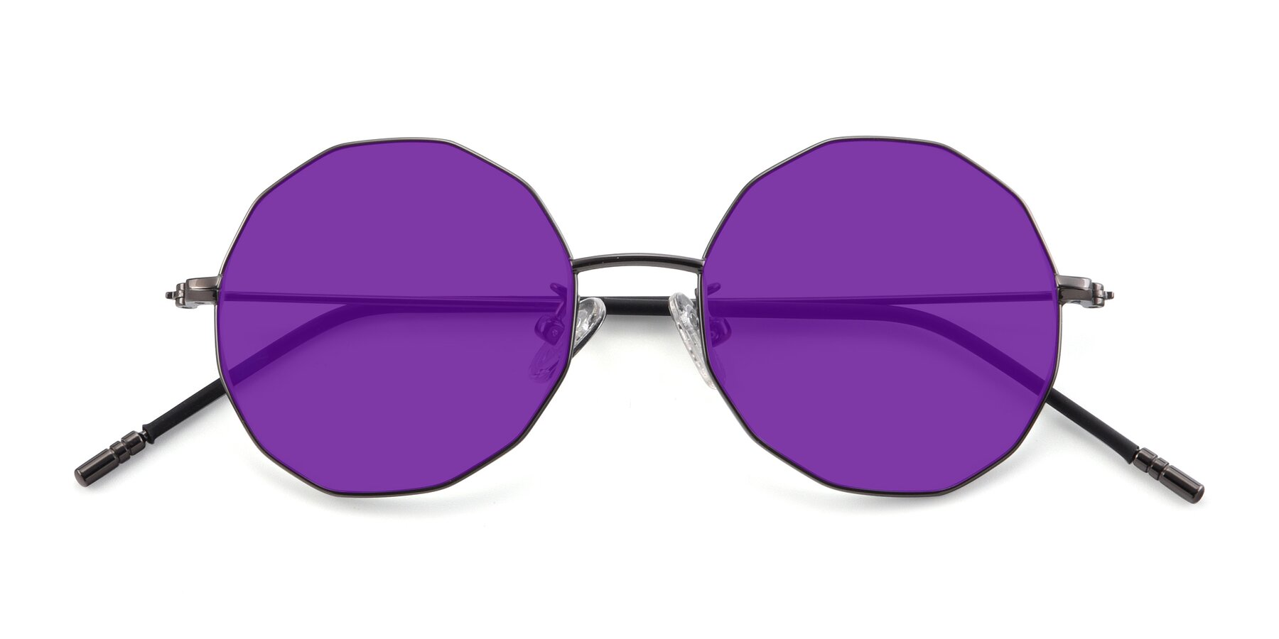 Folded Front of Dreamer in Gunmetal with Purple Tinted Lenses