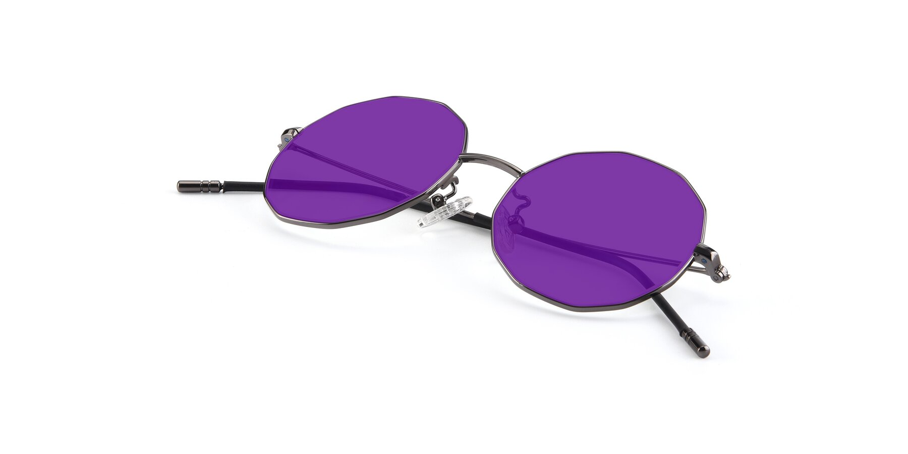 View of Dreamer in Gunmetal with Purple Tinted Lenses