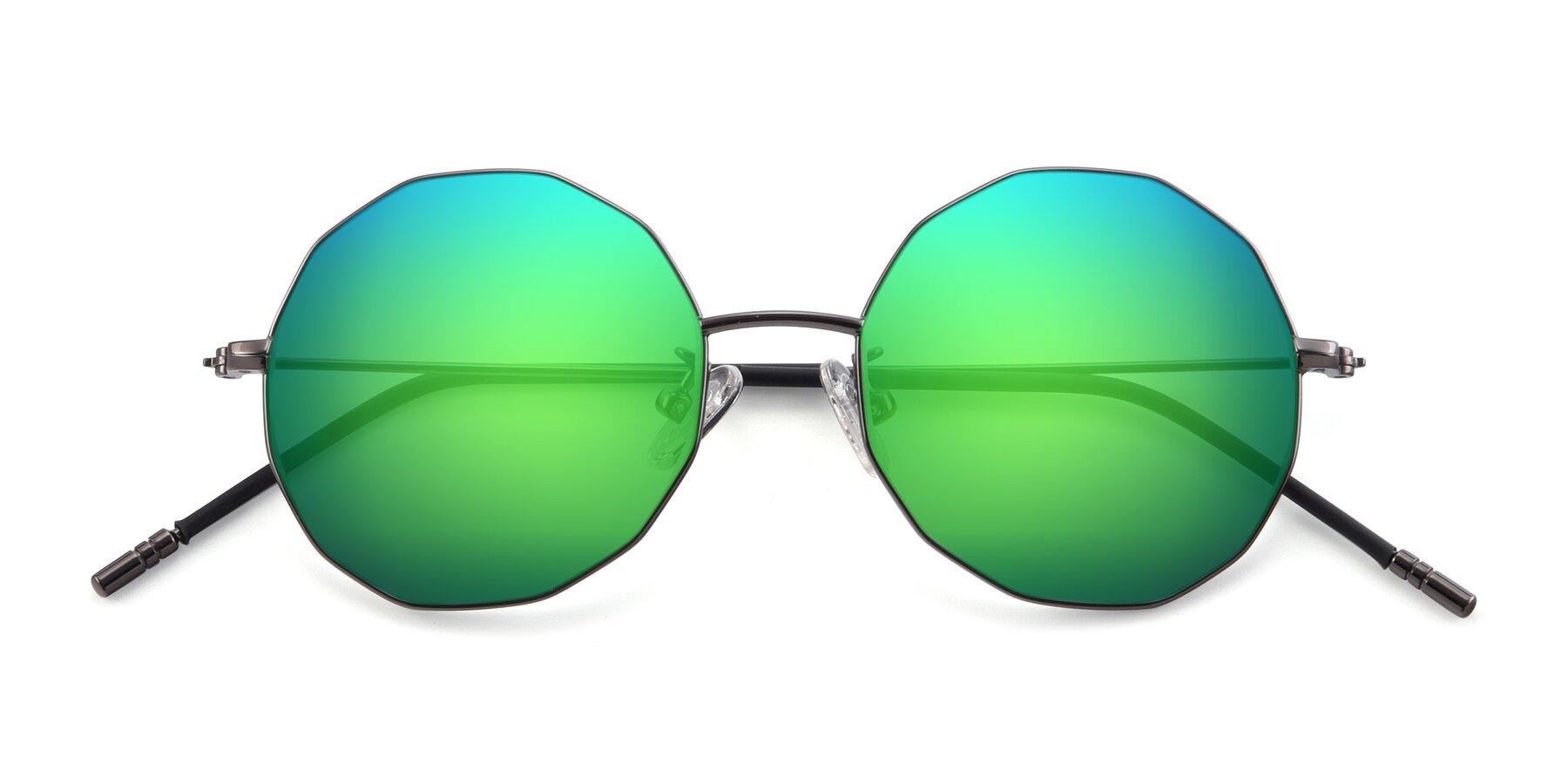 Folded Front of Dreamer in Gunmetal with Green Mirrored Lenses