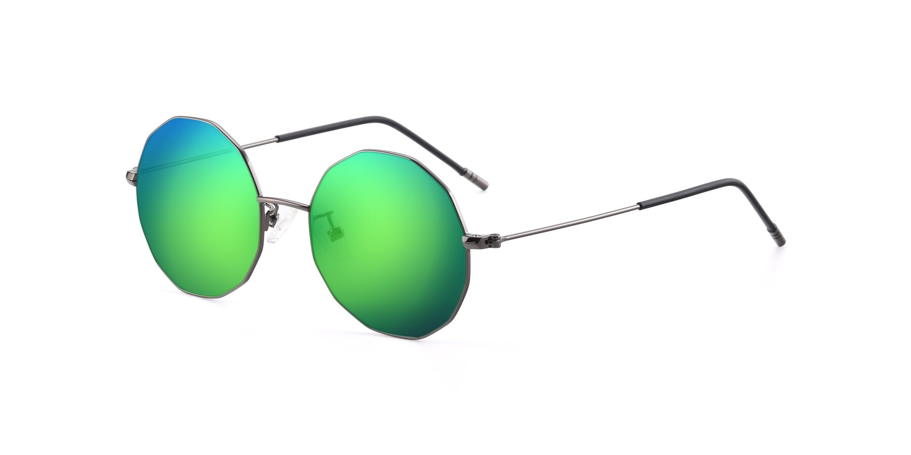 Angle of Dreamer in Gunmetal with Green Mirrored Lenses