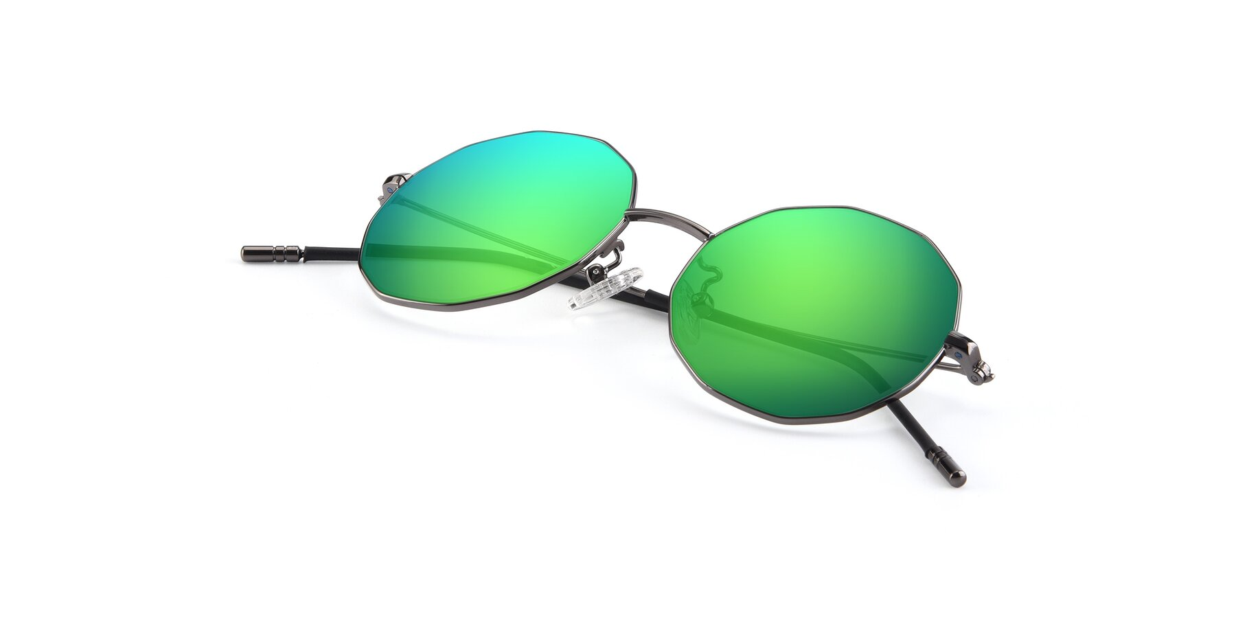 View of Dreamer in Gunmetal with Green Mirrored Lenses