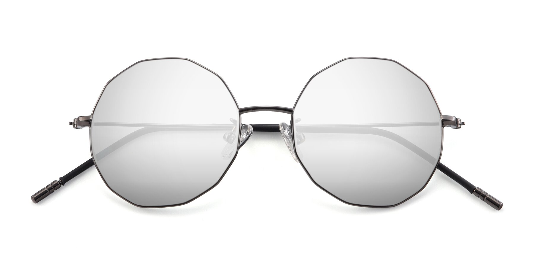 Folded Front of Dreamer in Gunmetal with Silver Mirrored Lenses