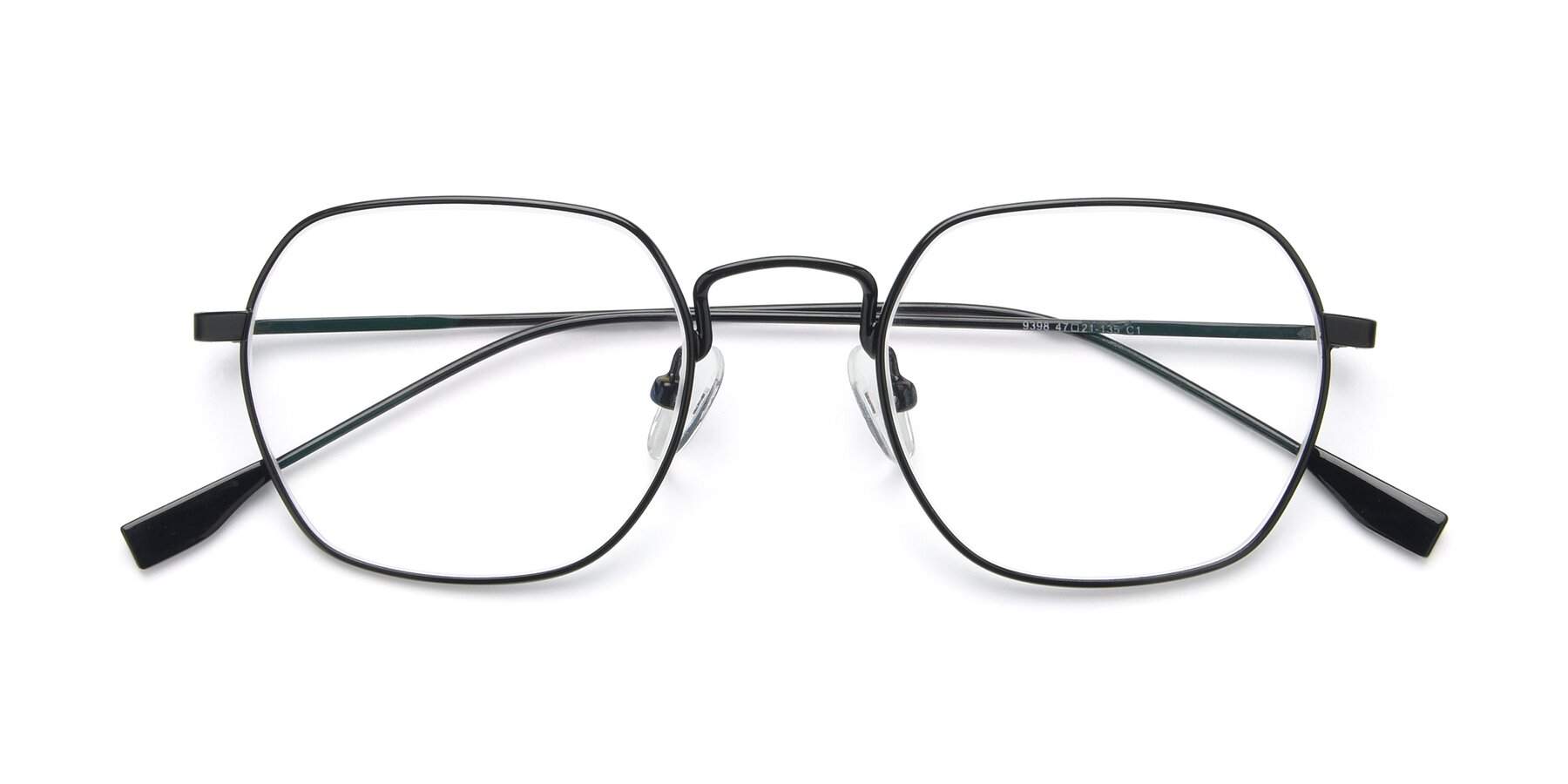 Folded Front of 9398 in Black with Clear Blue Light Blocking Lenses