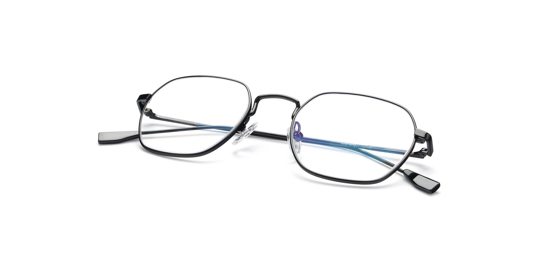 View of 9398 in Black with Clear Blue Light Blocking Lenses