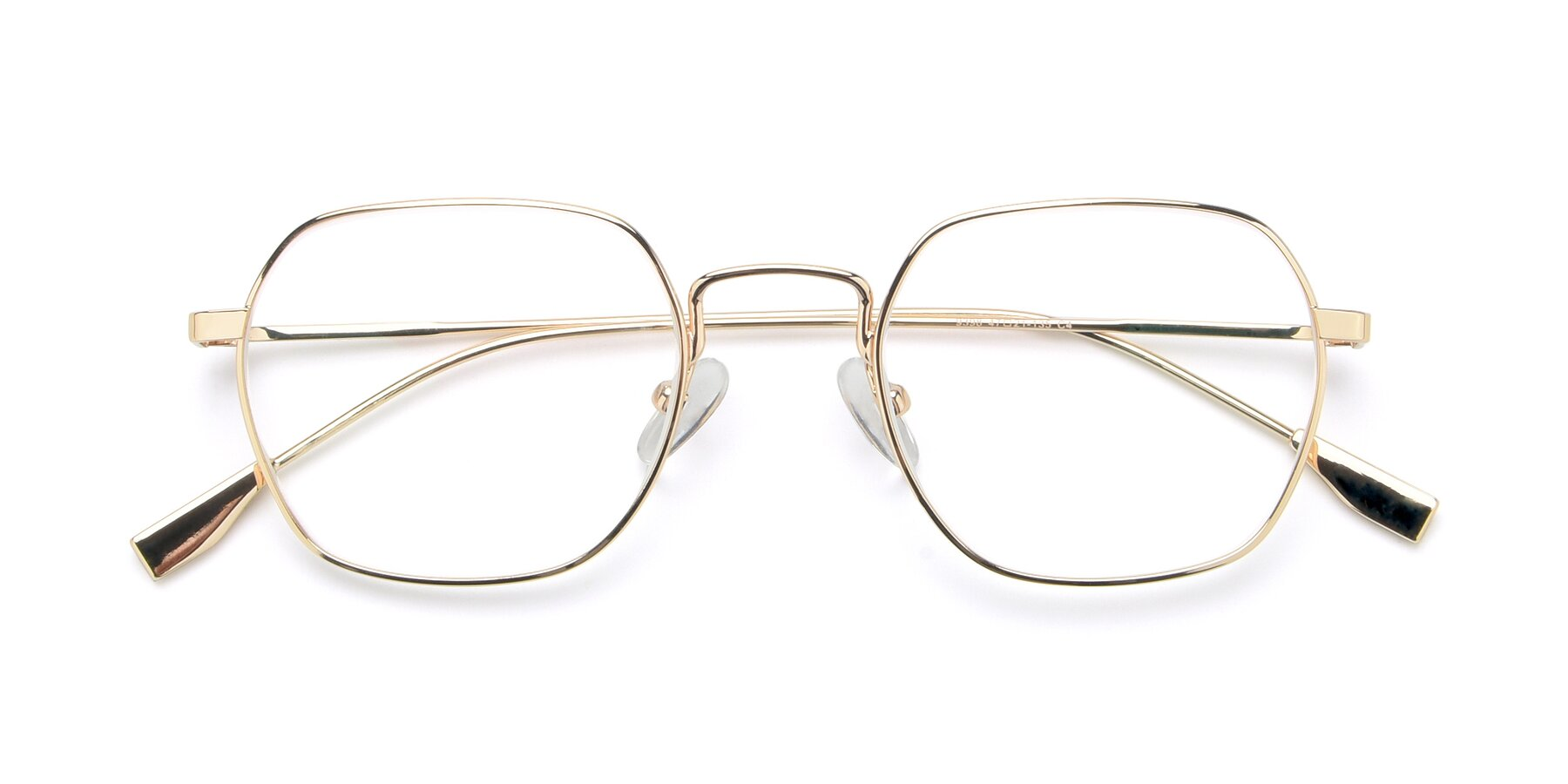 Folded Front of 9398 in Gold with Clear Blue Light Blocking Lenses