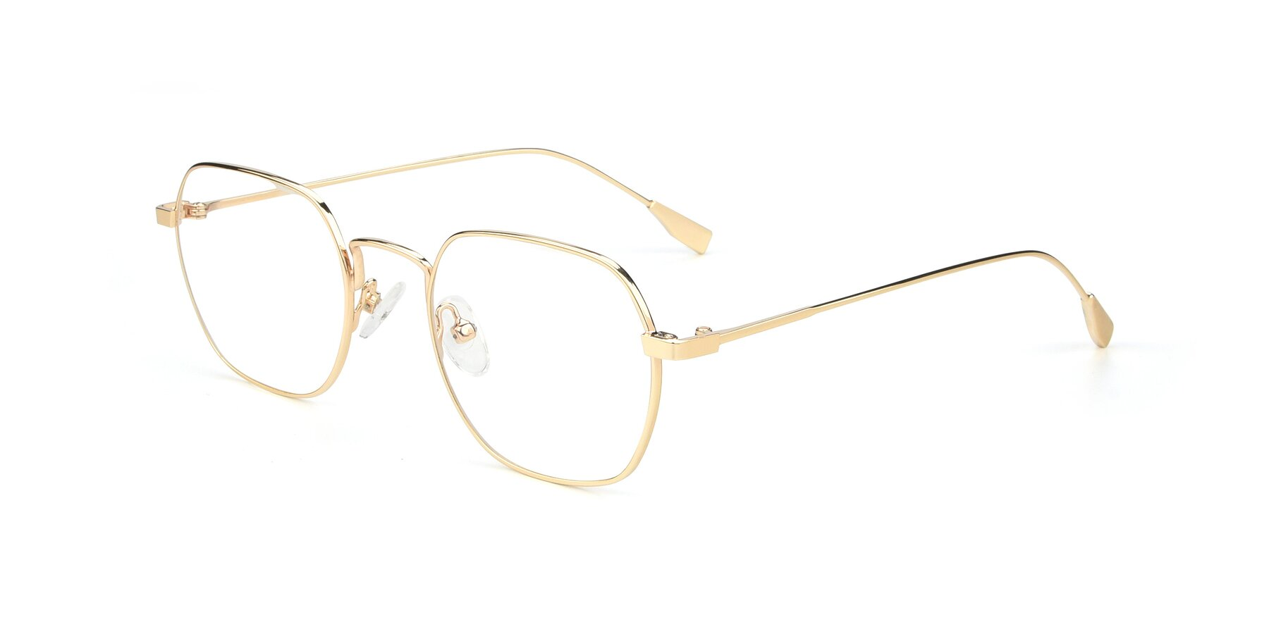 Angle of 9398 in Gold with Clear Blue Light Blocking Lenses