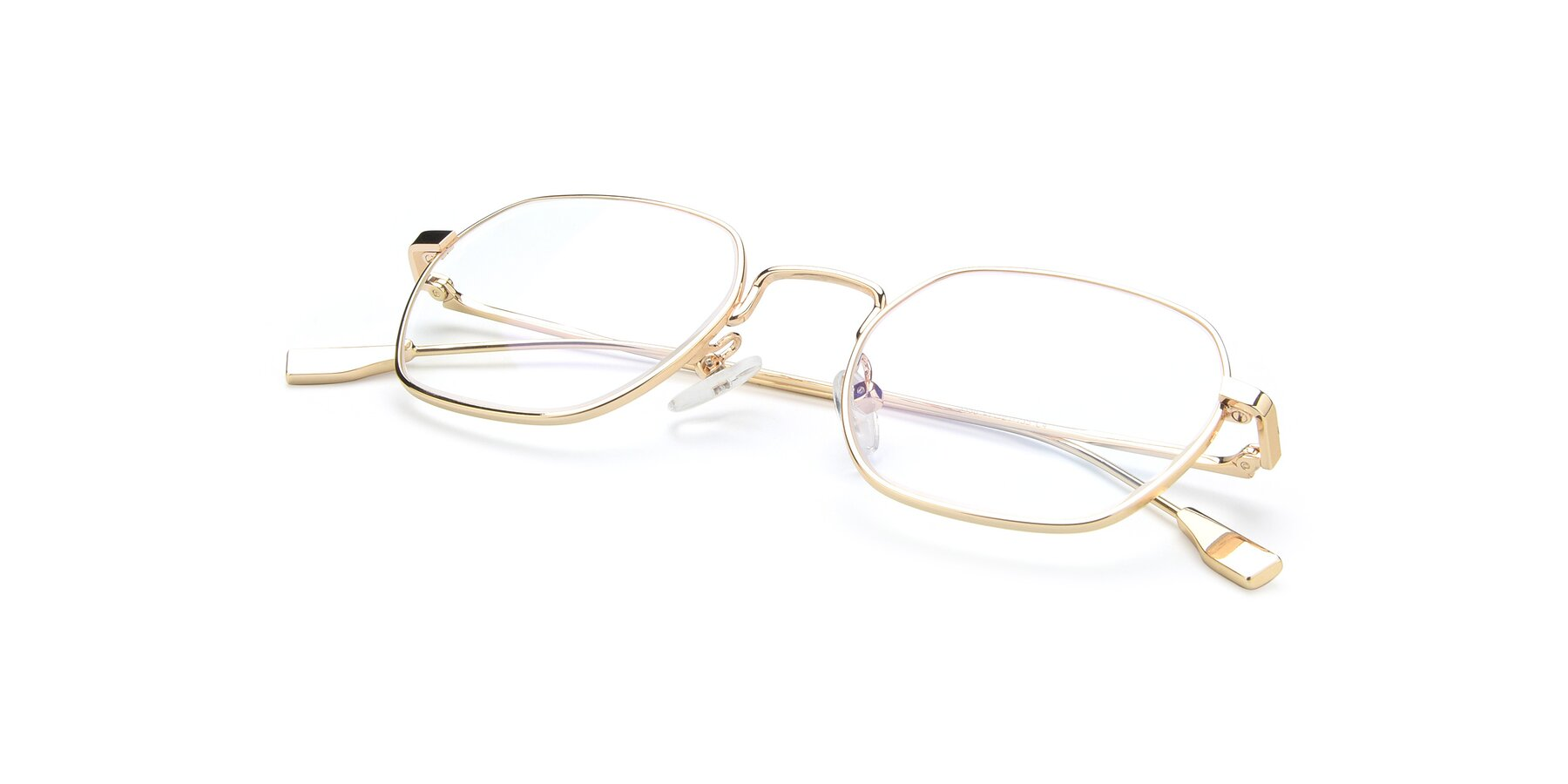 View of 9398 in Gold with Clear Blue Light Blocking Lenses