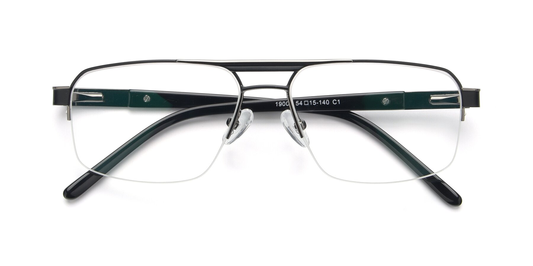 Folded Front of 19004 in Black-Gun with Clear Eyeglass Lenses