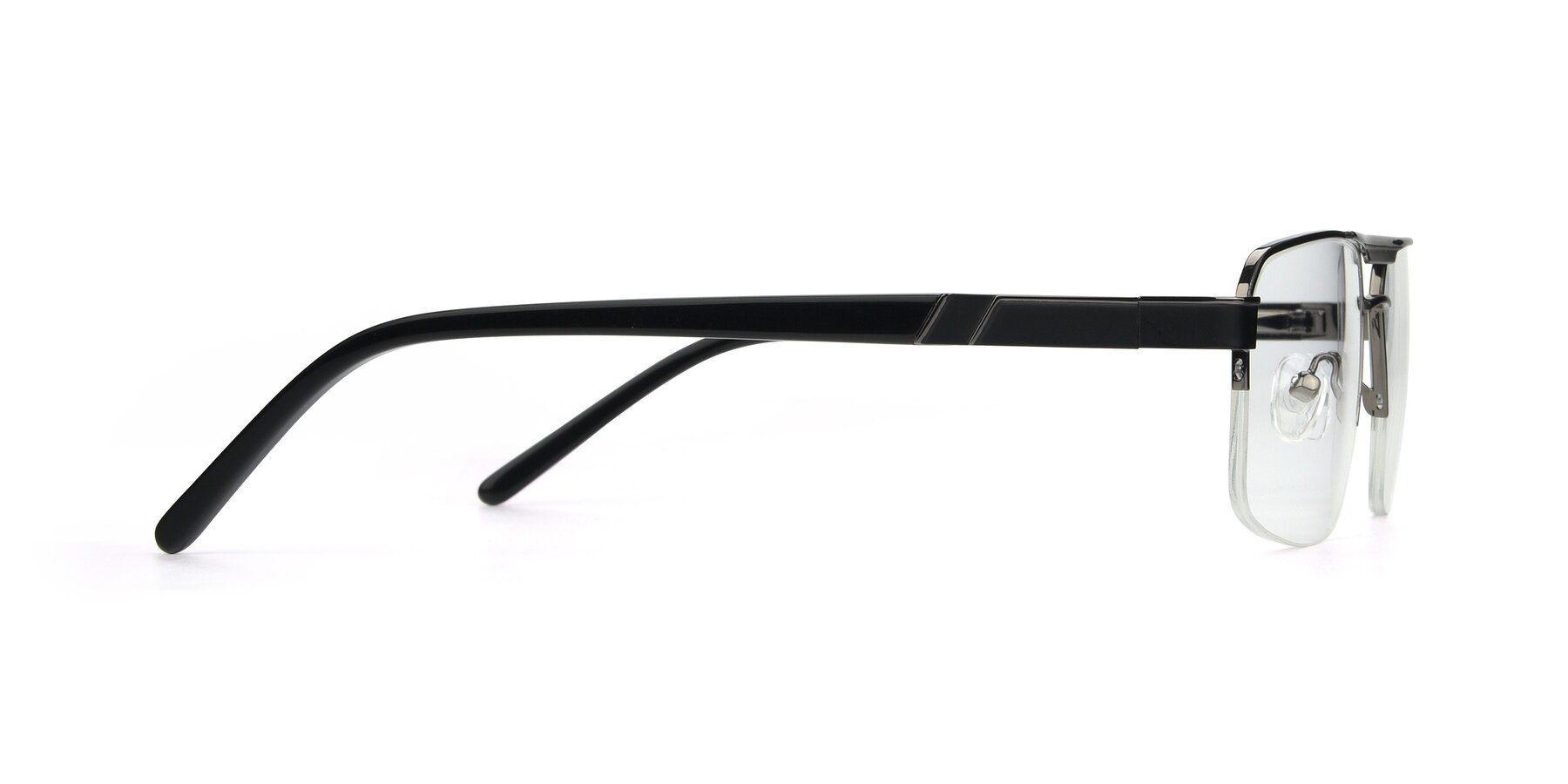Side of 19004 in Black-Gun with Clear Eyeglass Lenses