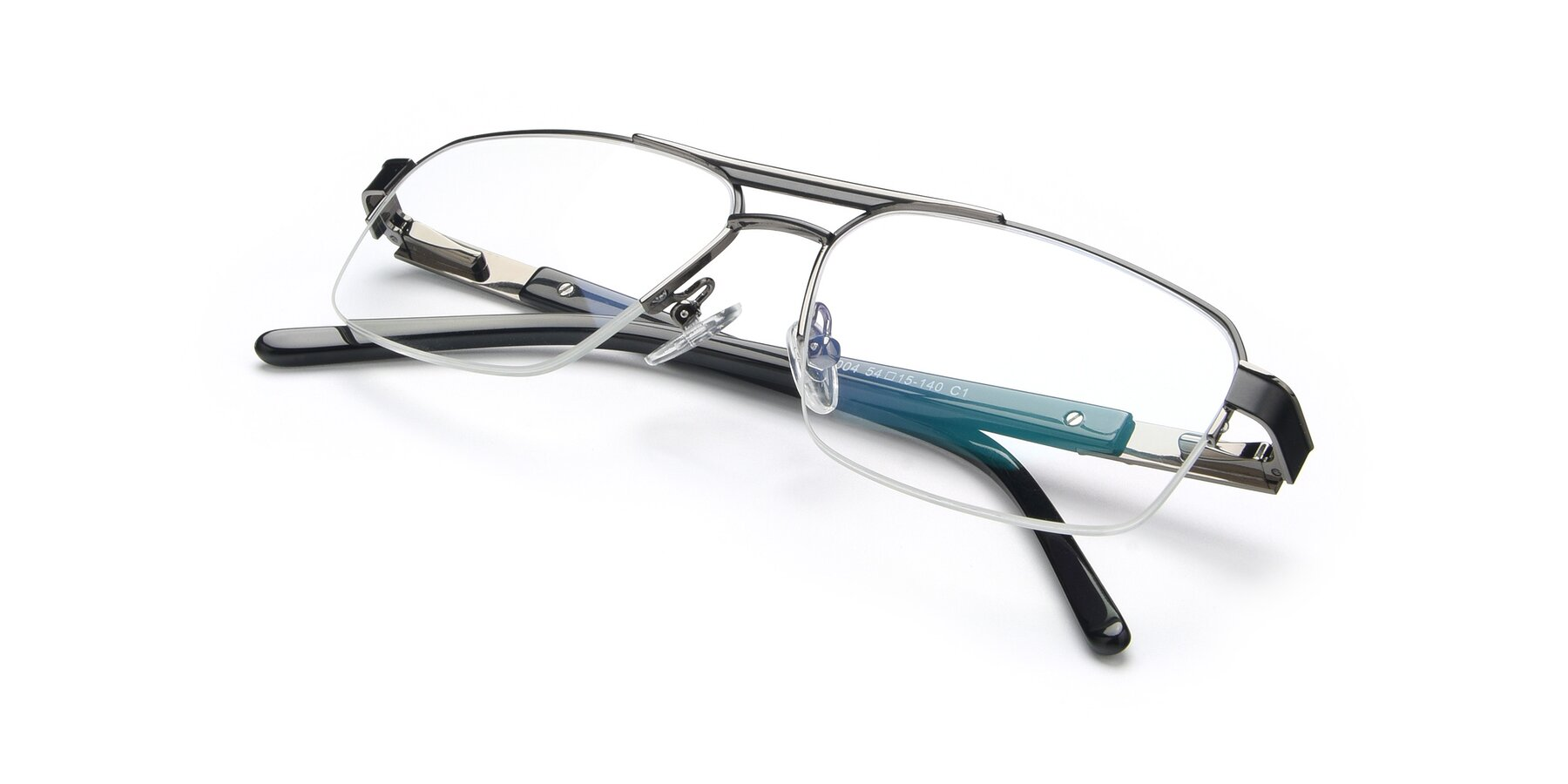View of 19004 in Black-Gun with Clear Eyeglass Lenses