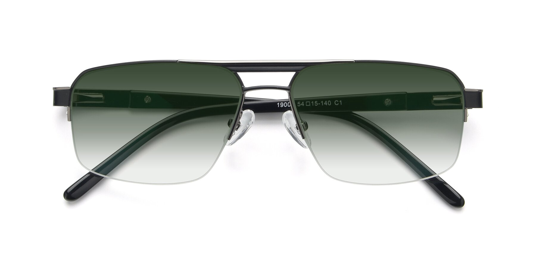 Folded Front of 19004 in Black-Gun with Green Gradient Lenses
