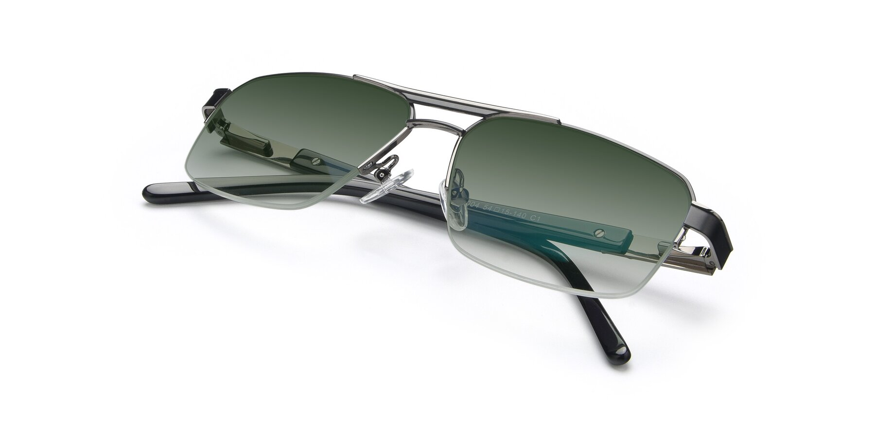 View of 19004 in Black-Gun with Green Gradient Lenses
